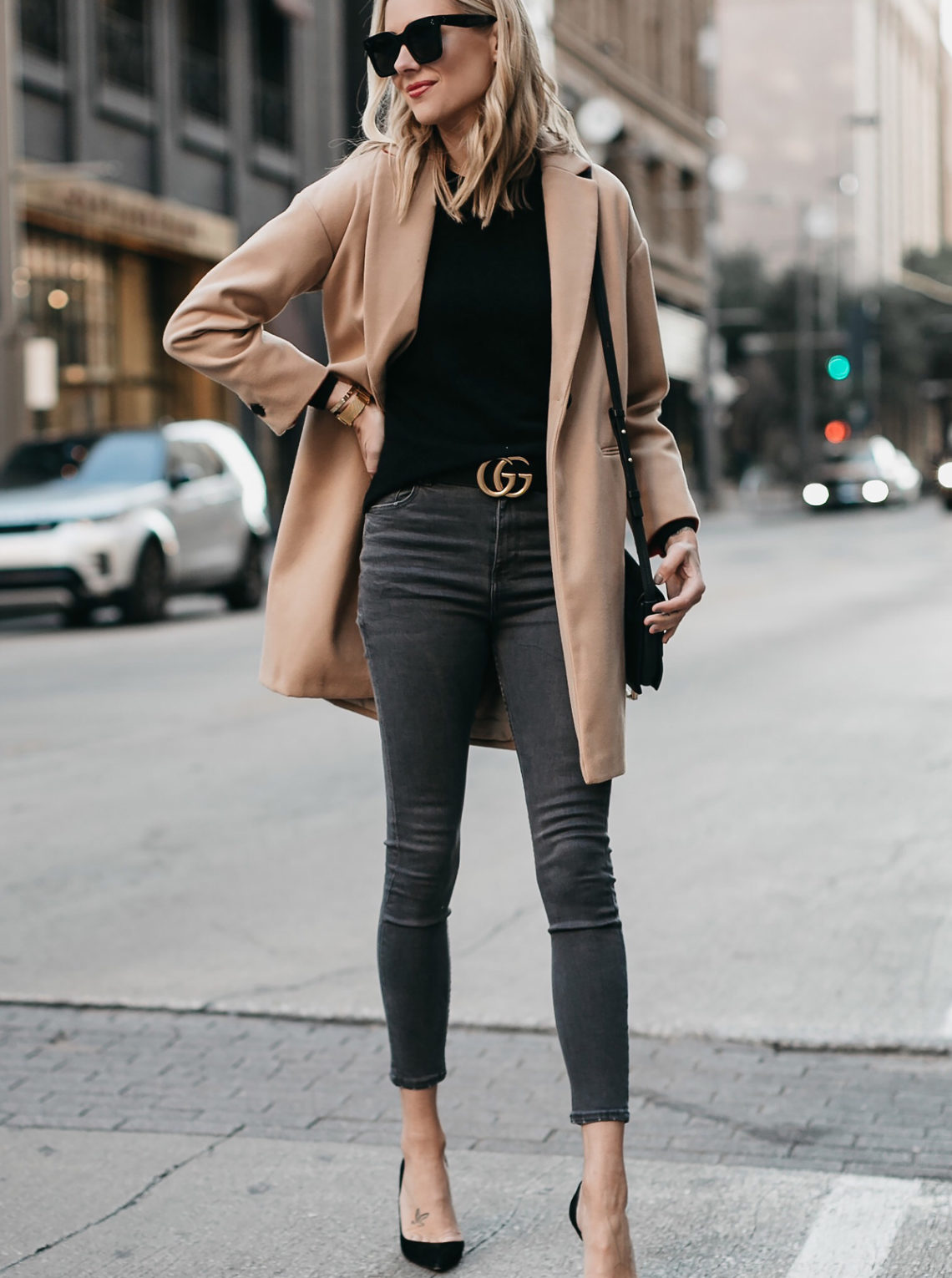 Blonde Woman Wearing Topshop Camel Coat Black Sweater Grey Skinny Jeans Gucci Marmont Belt Christian Louboutin Black Pumps Fashion Jackson Dallas Blogger Fashion Blogger Street Style