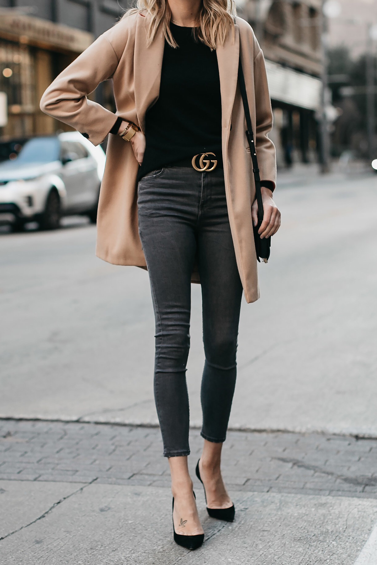 Topshop Camel Coat Black Sweater Grey Skinny Jeans Gucci Marmont Belt Christian Louboutin Black Pumps Fashion Jackson Dallas Blogger Fashion Blogger Street Style