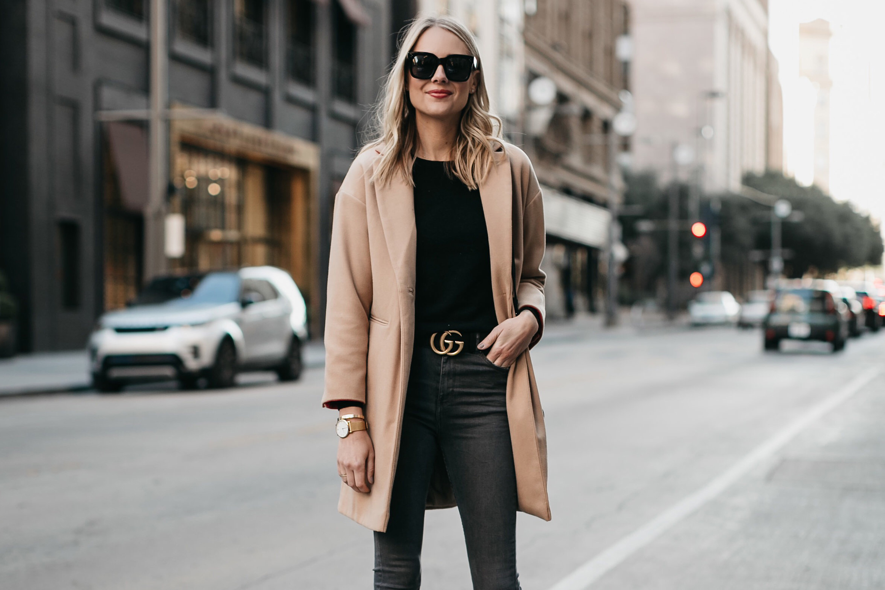 Blonde Woman Wearing Topshop Camel Coat Black Sweater Gucci Marmont Belt Fashion Jackson Dallas Blogger Fashion Blogger Street Style