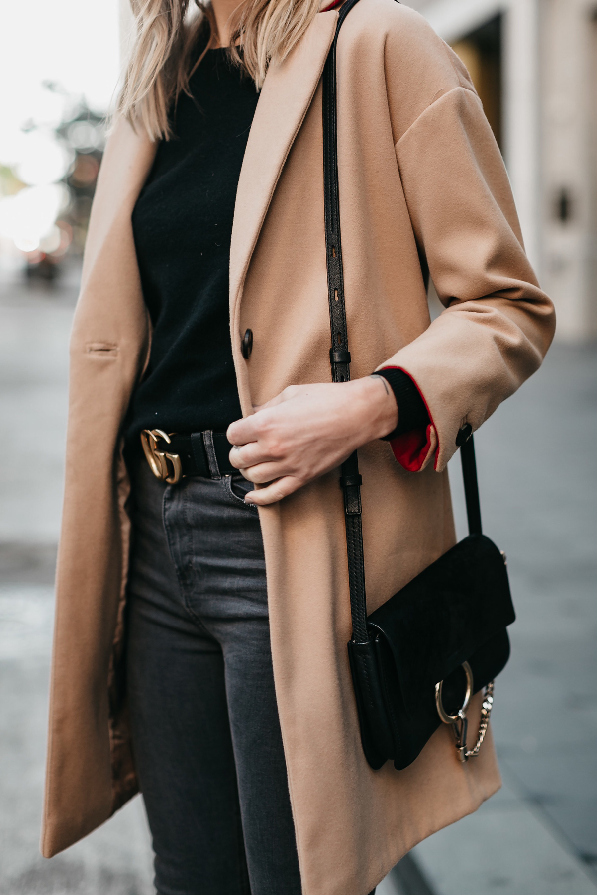 Topshop Camel Coat Chloe Faye Black Handbag Gucci Marmont Belt Fashion Jackson Dallas Blogger Fashion Blogger Street Style