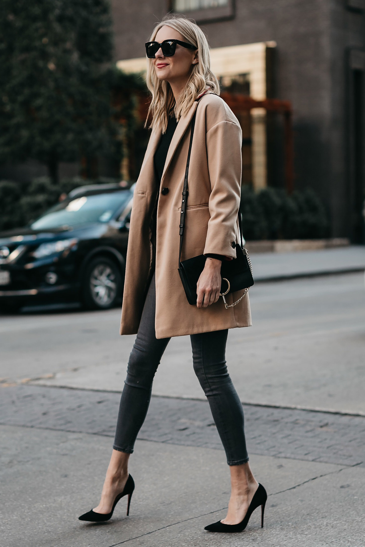 Blonde Woman Wearing Topshop Camel Coat Grey Skinny Jeans Christian Louboutin Black Pumps Fashion Jackson Dallas Blogger Fashion Blogger Street Style