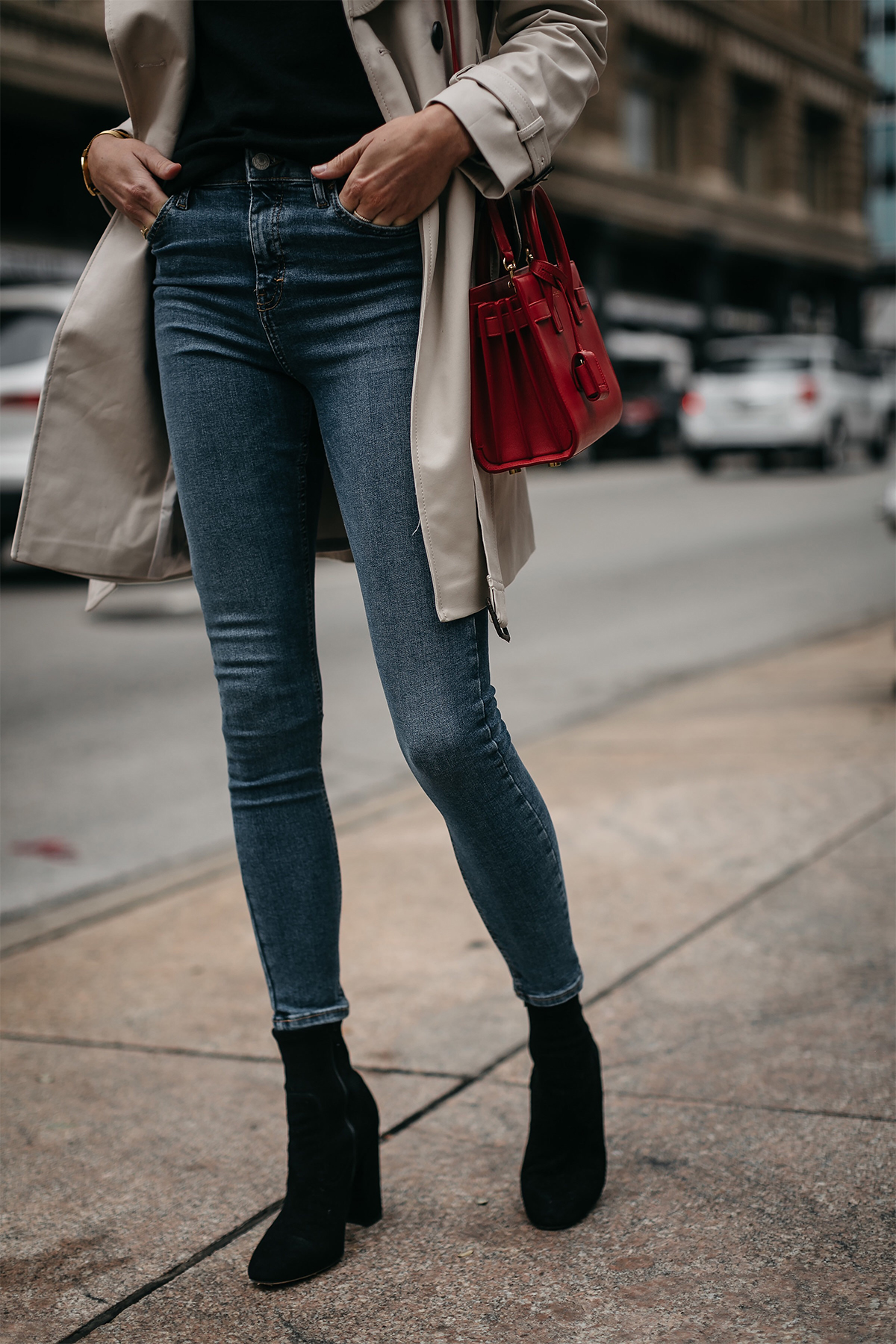 Fashion Jackson Topshop Denim Skinny Jeans Club Monaco Black Ankle Booties Saint Laurent Red Sac De Jour Handbag