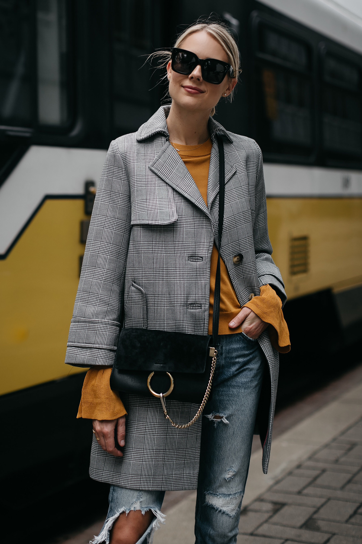 Blonde Woman Wearing Topshop Plaid Trench Coat Marigold Sweater Levis Ripped Jeans Chloe Faye Handbag Fashion Jackson Dallas Blogger Fashion Blogger Street Style