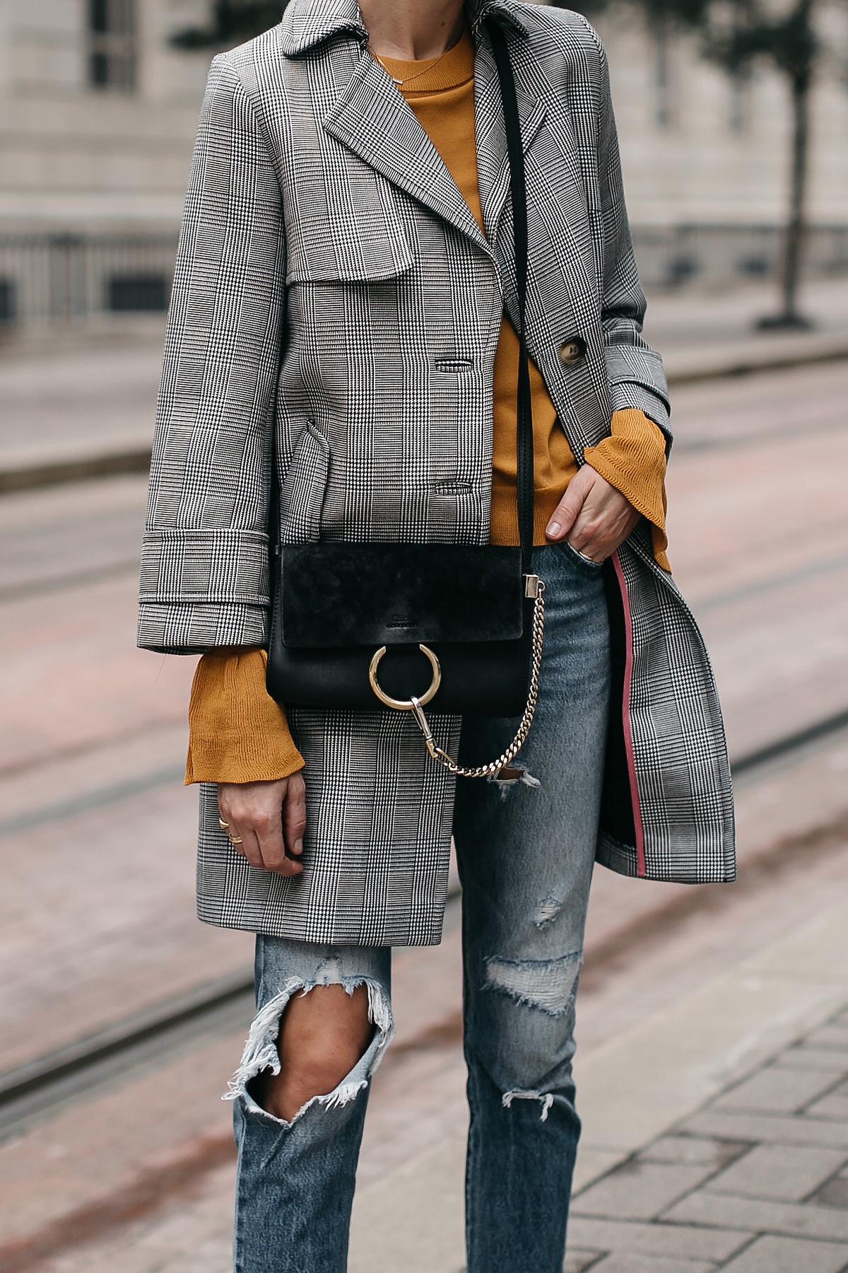Topshop Plaid Trench Coat Marigold Sweater Levis Ripped Jeans Chloe Faye Handbag Fashion Jackson Dallas Blogger Fashion Blogger Street Style