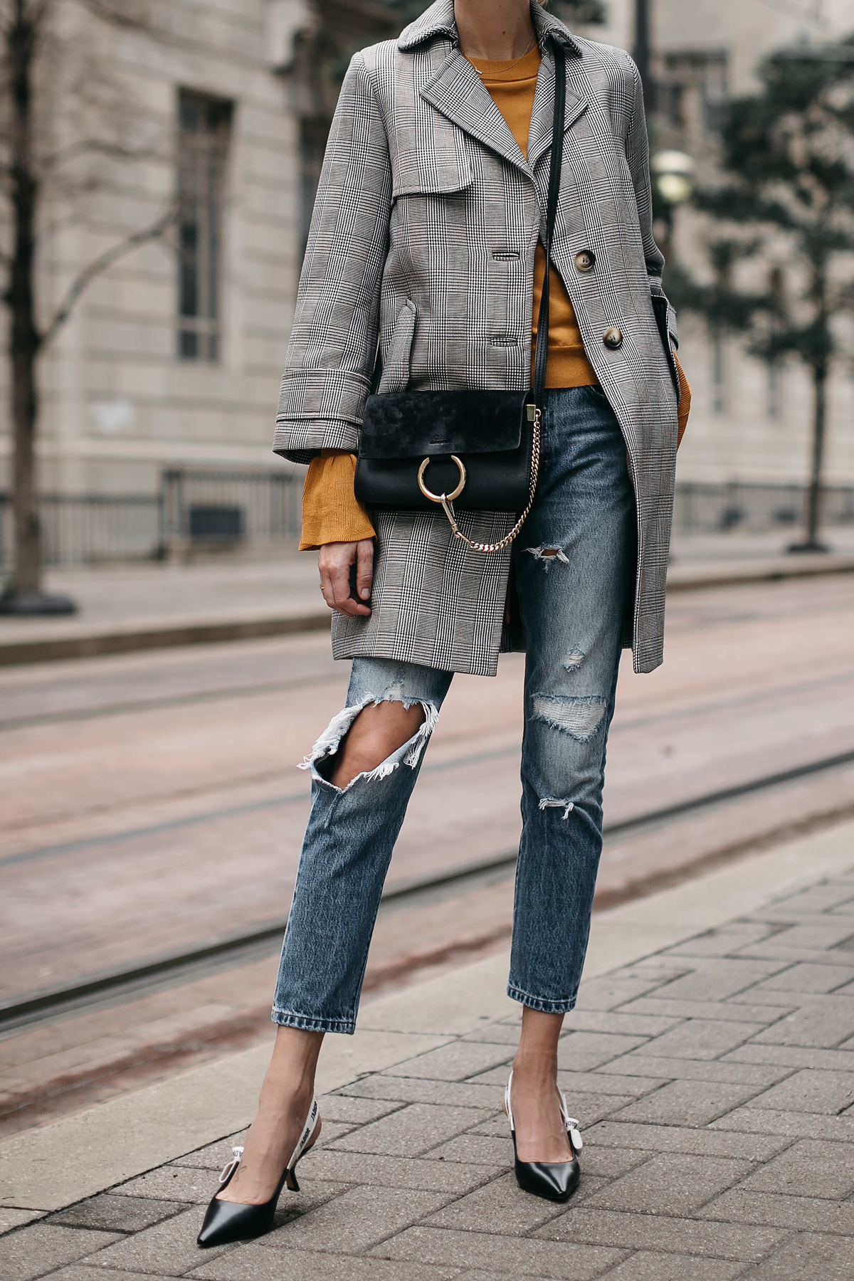 Topshop Plaid Trench Coat Marigold Sweater Levis Ripped Jeans Dior Slingbacks Chloe Faye Handbag Fashion Jackson Dallas Blogger Fashion Blogger Street Style