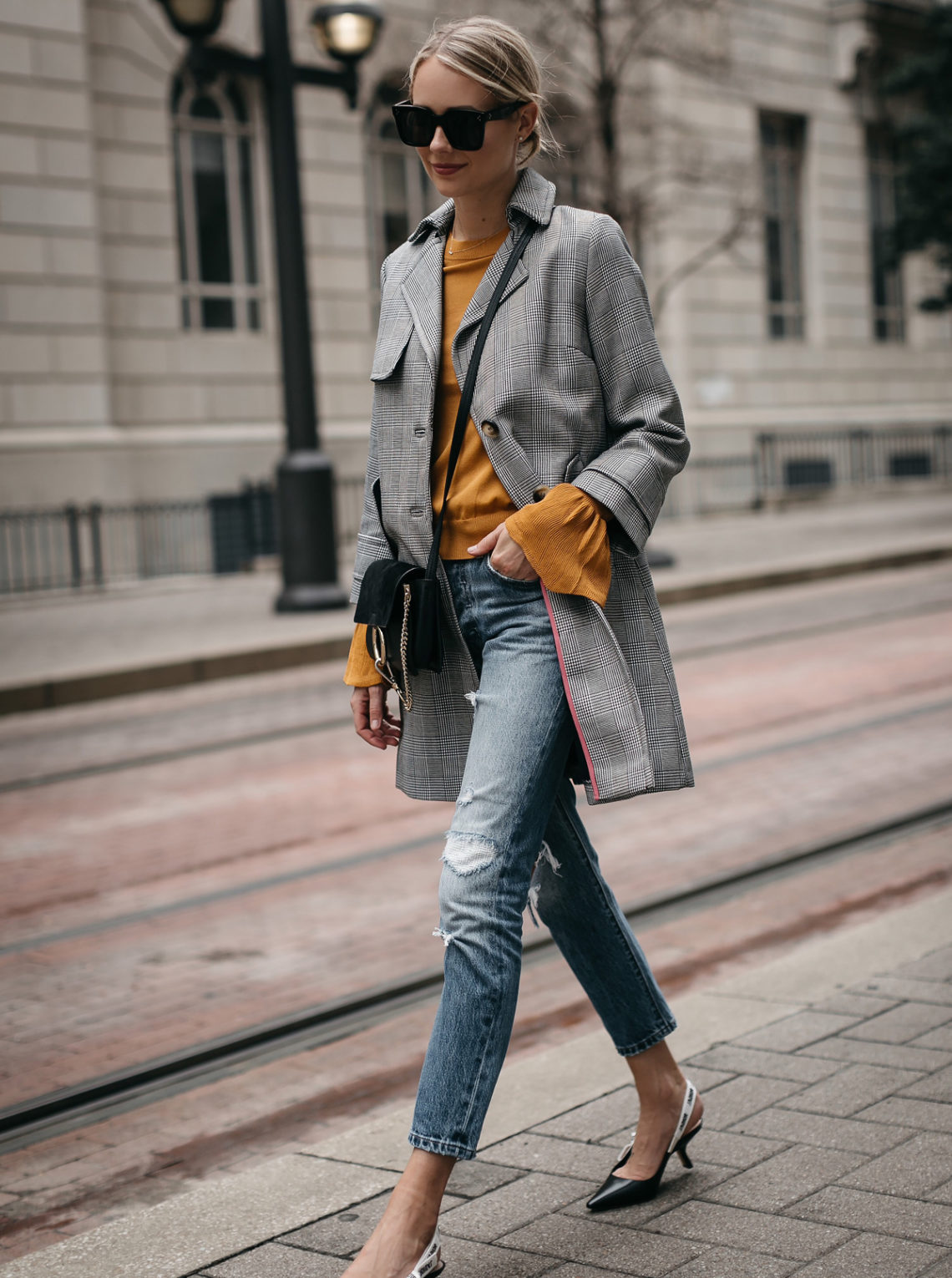 Blonde Woman Wearing Topshop Plaid Trench Coat Marigold Sweater Levis Ripped Jeans Dior Slingbacks Chloe Faye Handbag Fashion Jackson Dallas Blogger Fashion Blogger Street Style