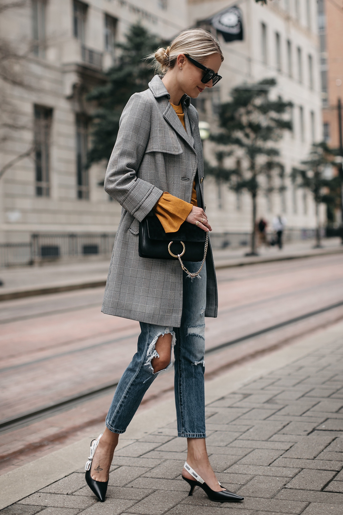 Blonde Woman Wearing Topshop Plaid Trench Coat Marigold Sweater Levis Ripped Jeans Dior Slingbacks Chloe Faye Handbag Fashion Jackson Dallas Blogger Fashion Blogger Street Style