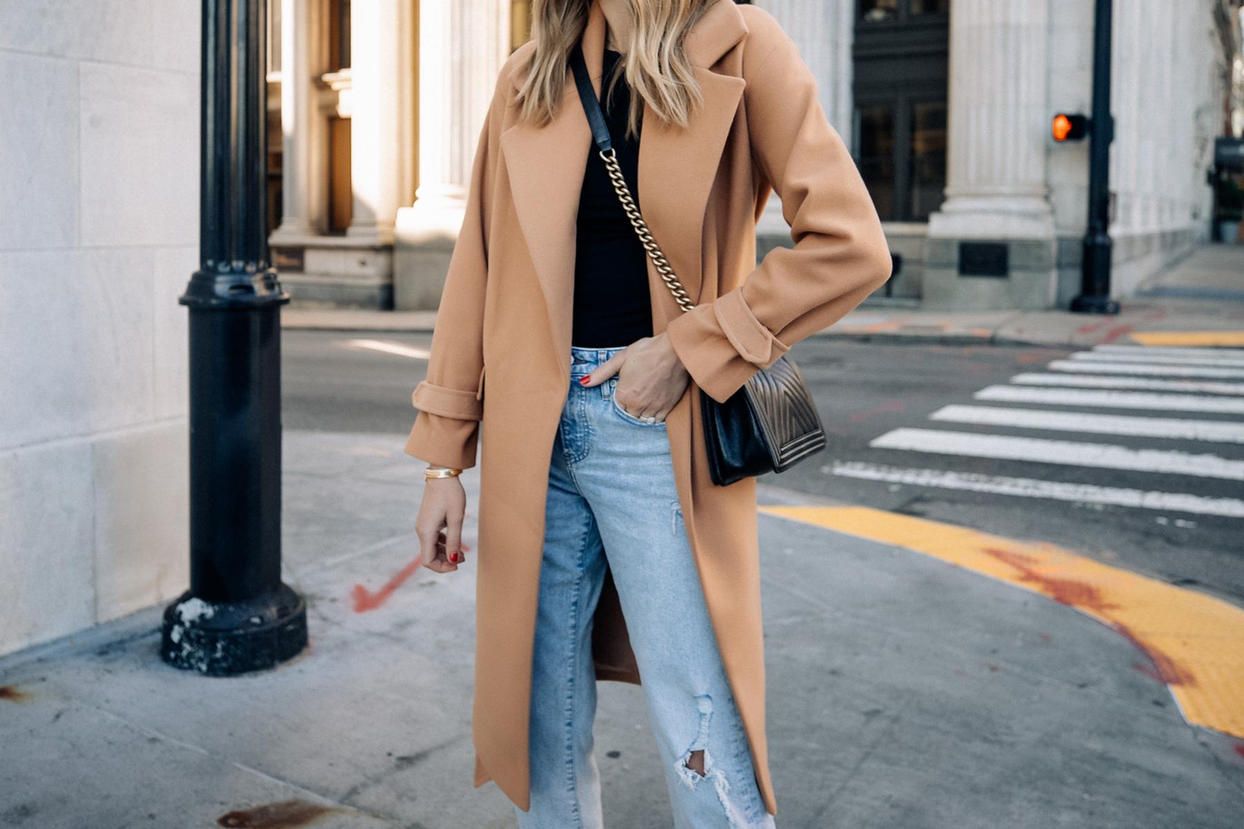 Fashion Jackson Wearing Express Camel Coat Black Tee Ripped Jeans Black Handbag Fall Outfit