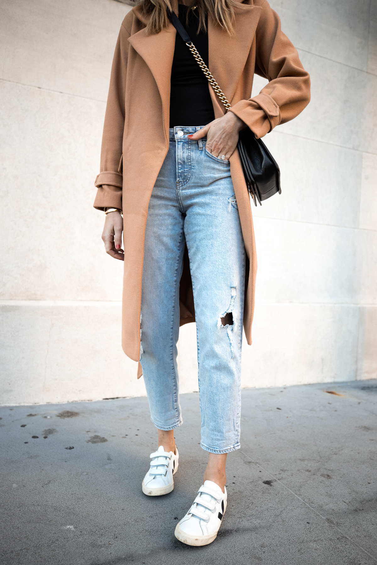 Fashion Jackson Wearing Express Camel Coat Ripped Boyfriend Jeans Veja Sneakers Fall Outfit