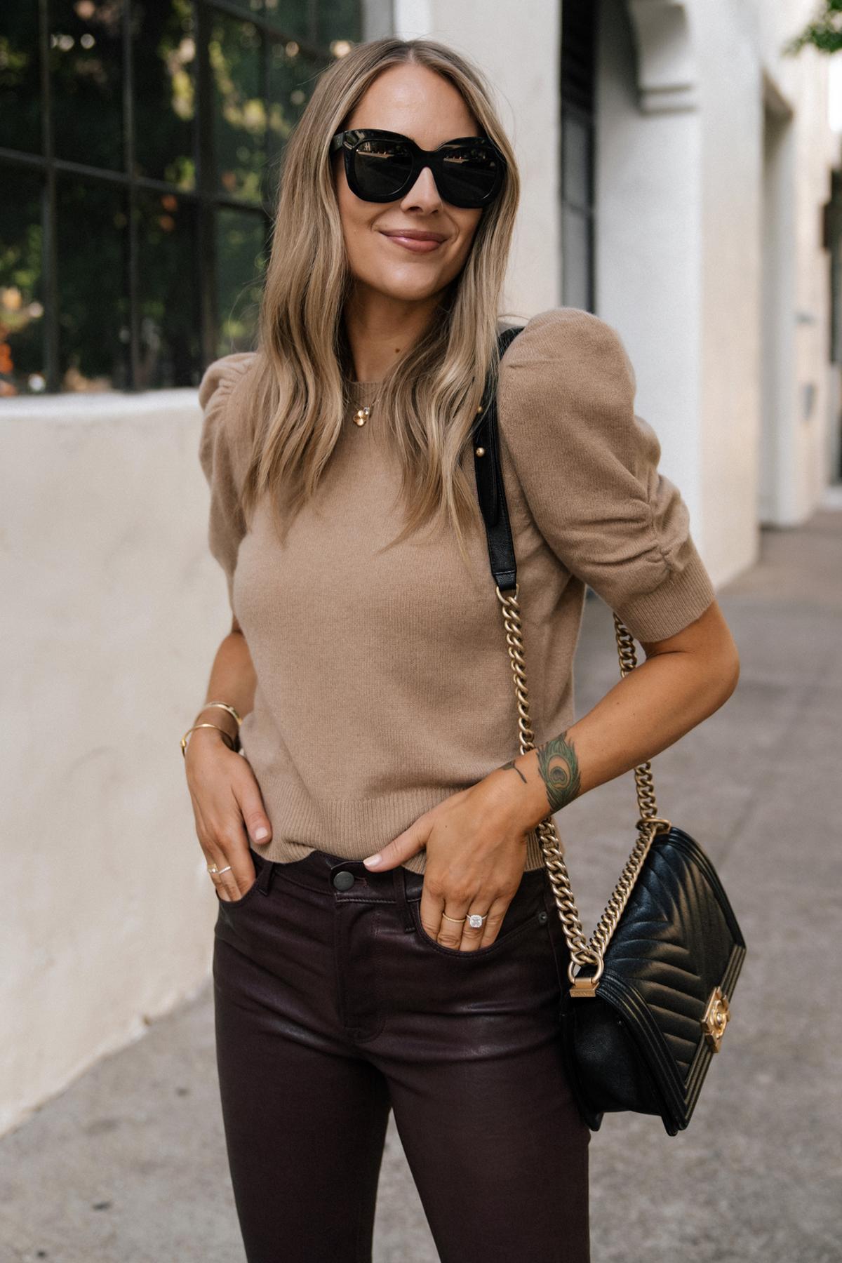 Fashion Jackson Wearing Frame Tan Short Sleeve Puff Sleeve Sweater Chanel Black Boy Bag Burgundy Leather Pants 1