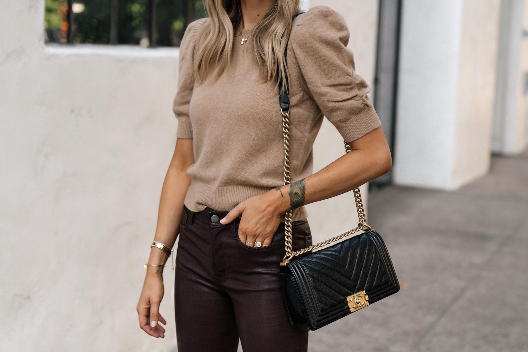 Fashion Jackson Wearing Frame Tan Short Sleeve Puff Sleeve Sweater Chanel Black Boy Bag Burgundy Leather Pants