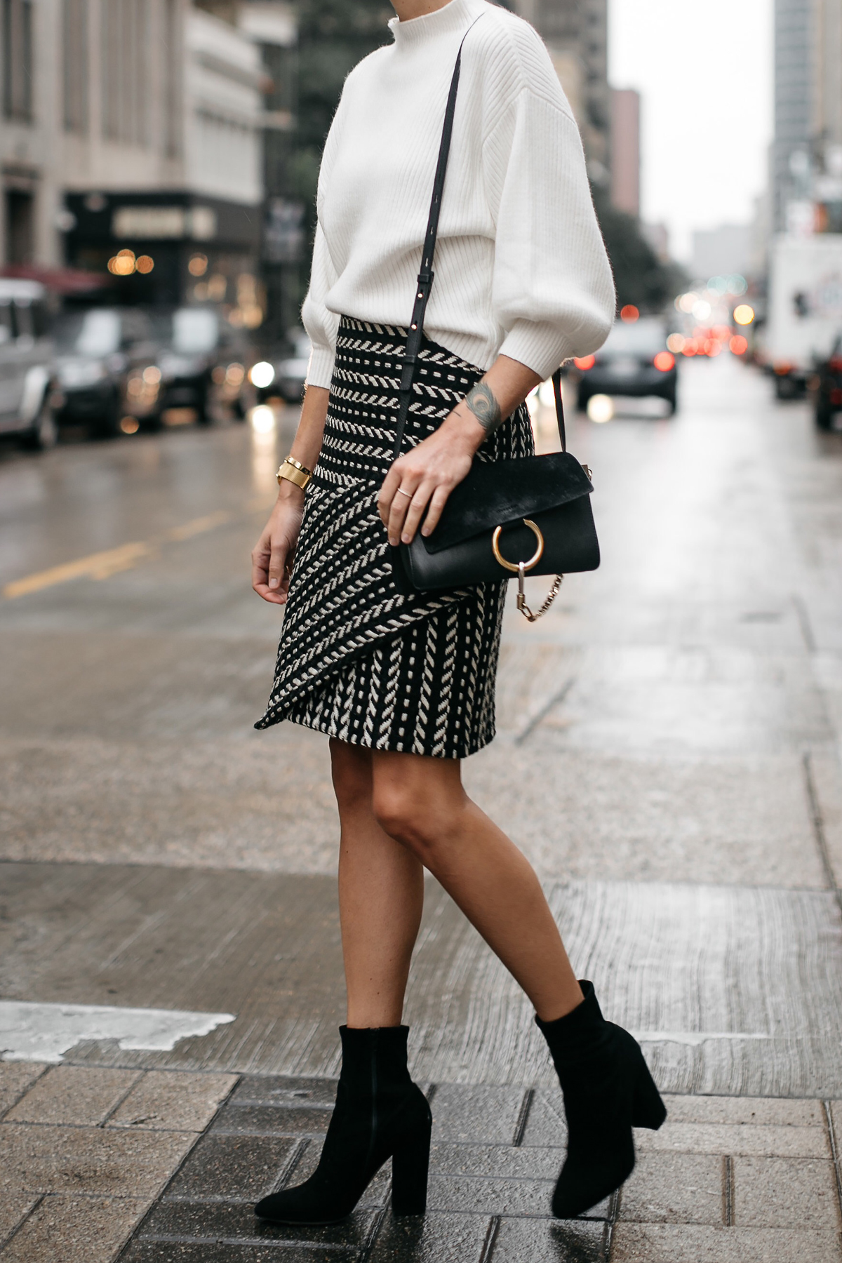 Fashion Jackson White Sweater Black and White Jacquard Skirt Black Ankle Booties Chloe Faye Handbag 1