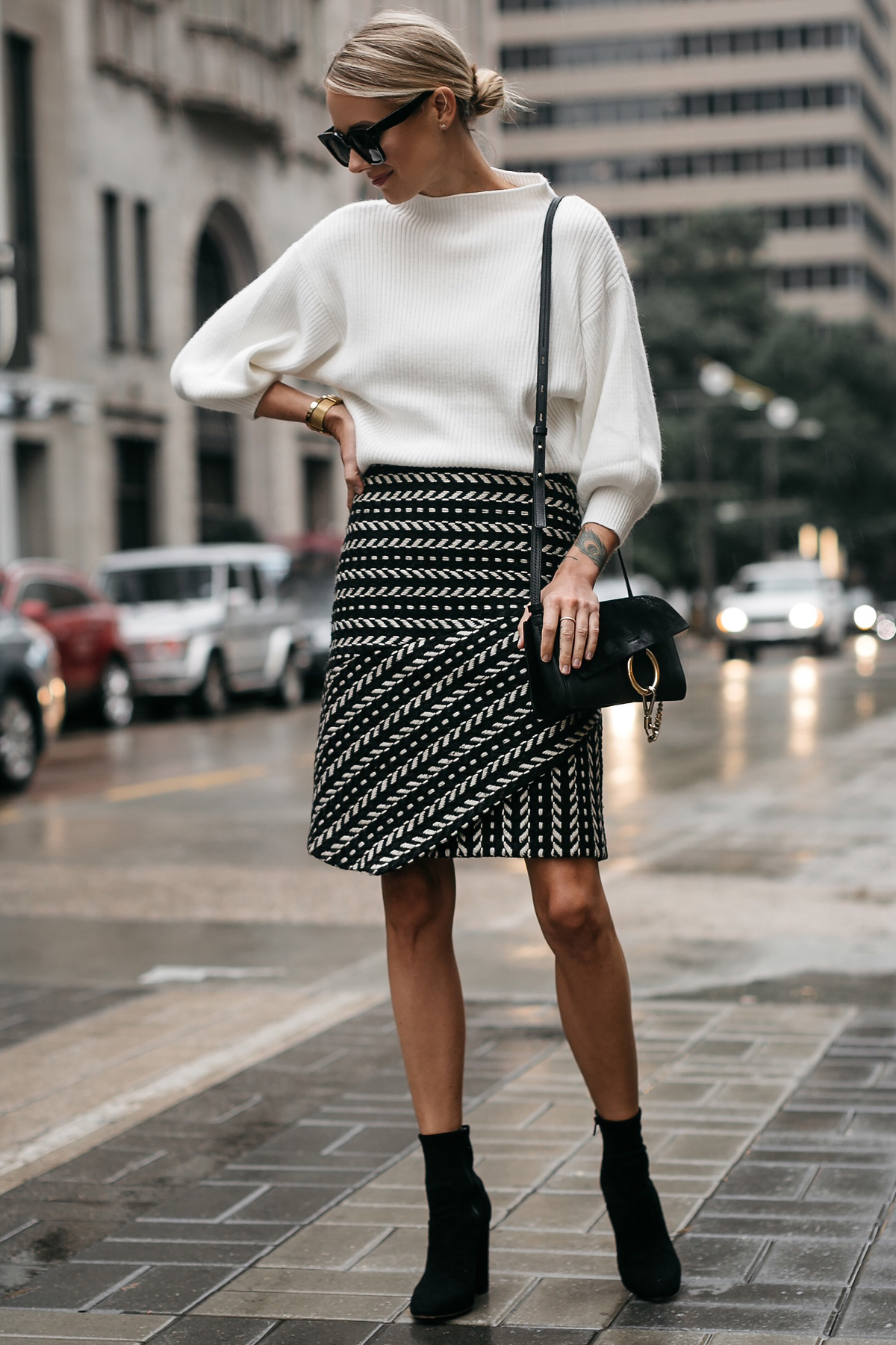 Fashion Jackson White Sweater Black and White Jacquard Skirt Black Ankle Booties Chloe Faye Handbag 2