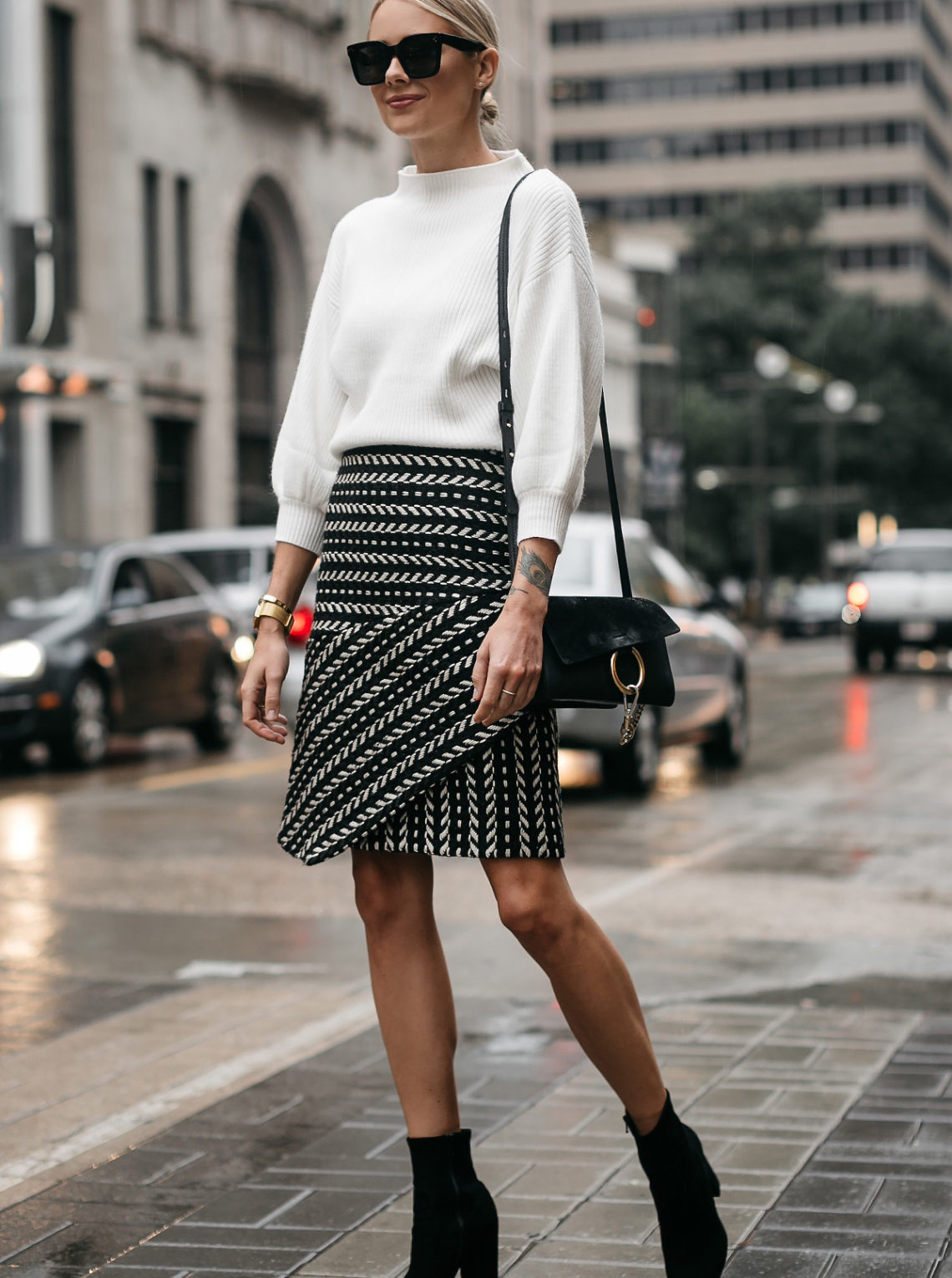 Fashion Jackson White Sweater Black and White Jaquard Skirt Black Ankle Booties Chloe Faye Handbag 3