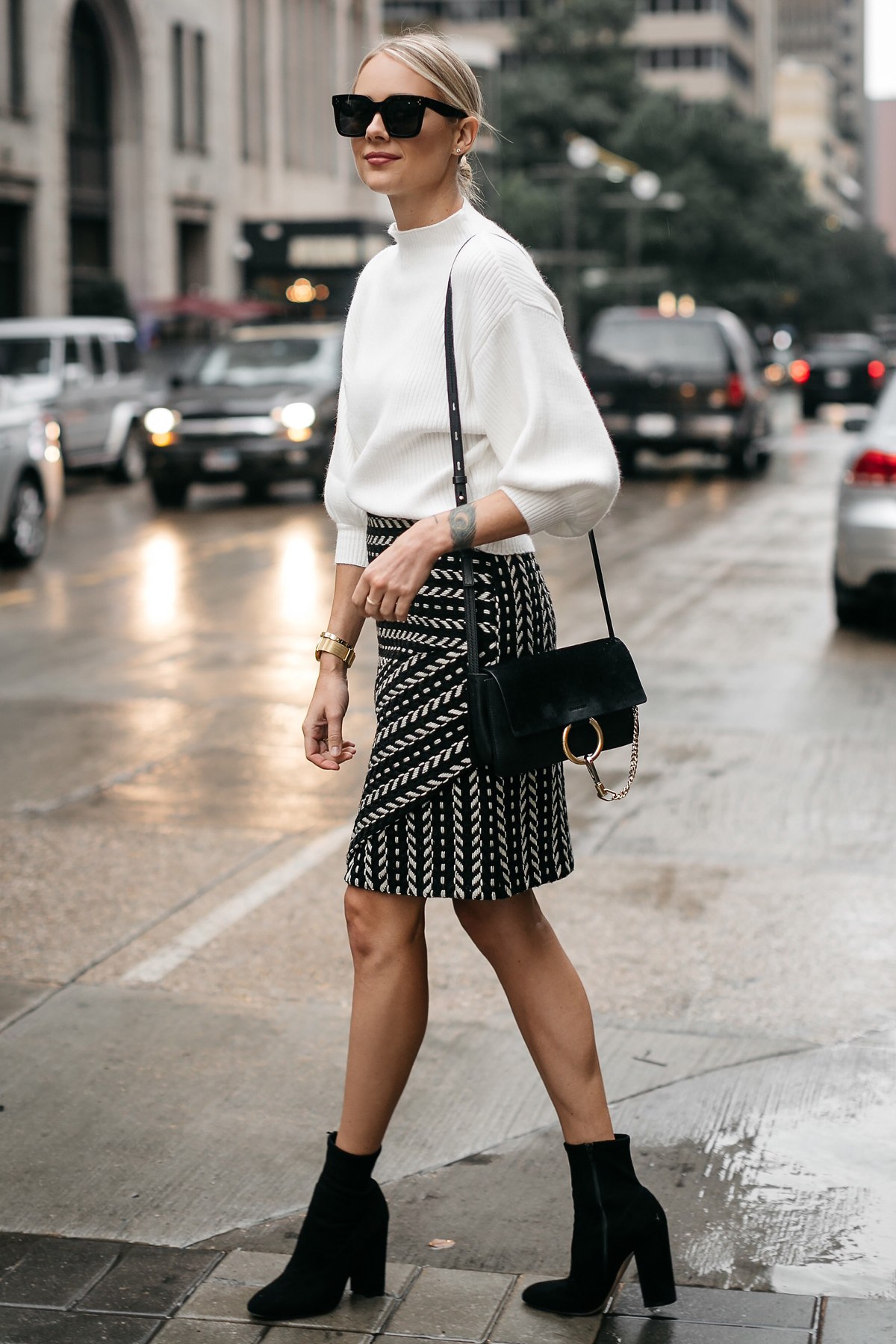 Fashion Jackson White Sweater Black and White Jacquard Skirt Black Ankle Booties Chloe Faye Handbag