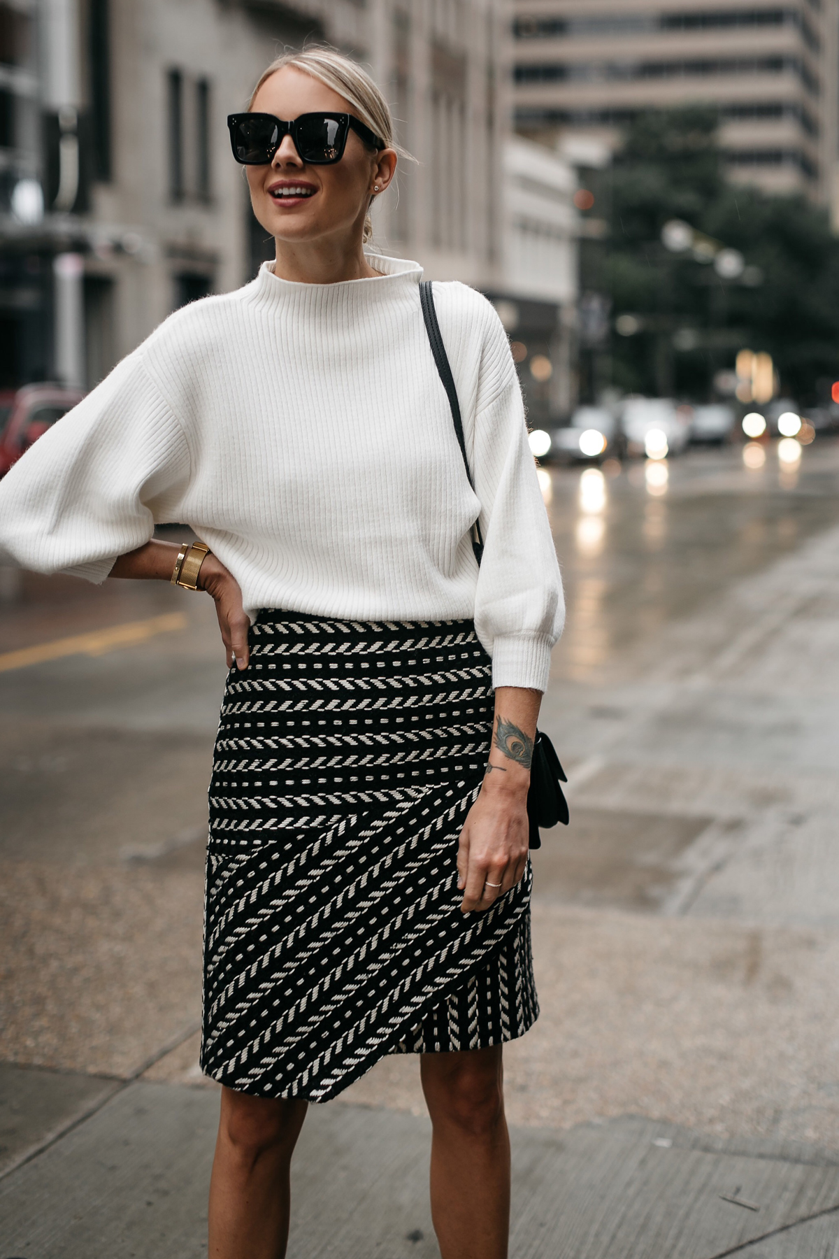 Fashion Jackson White Sweater Rachel Parcell Black and White Jacquard Skirt 1