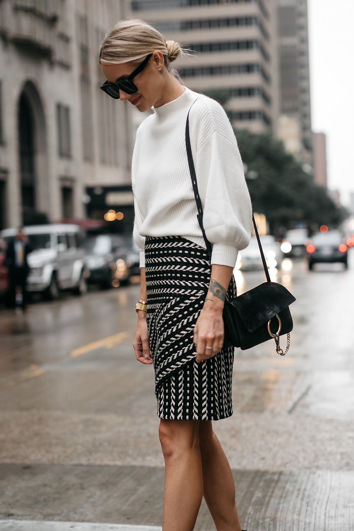 Fashion Jackson White Sweater Rachel Parcell Black and White Jacquard Skirt Chloe Faye Handbag 1