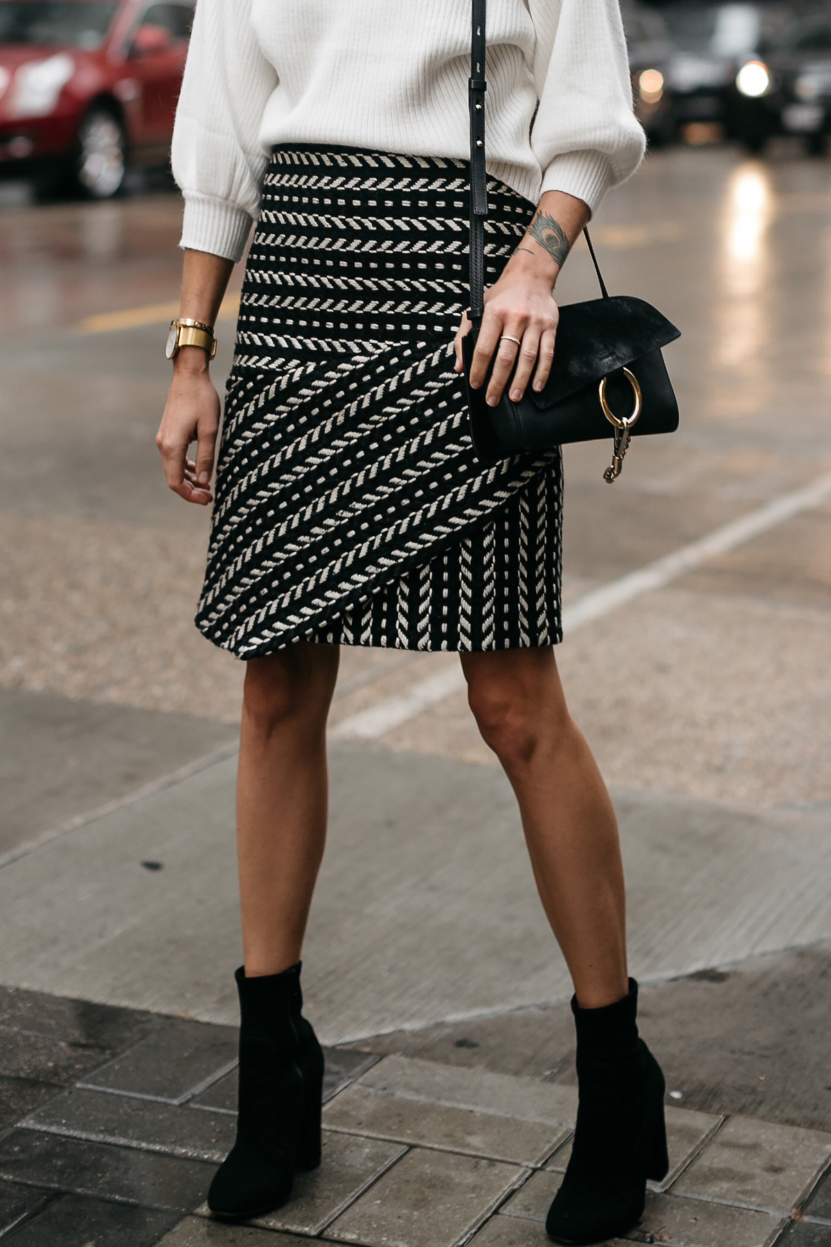 Fashion Jackson White Sweater Rachel Parcell Black and White Jacquard Skirt Chloe Faye Handbag Black Ankle Booties