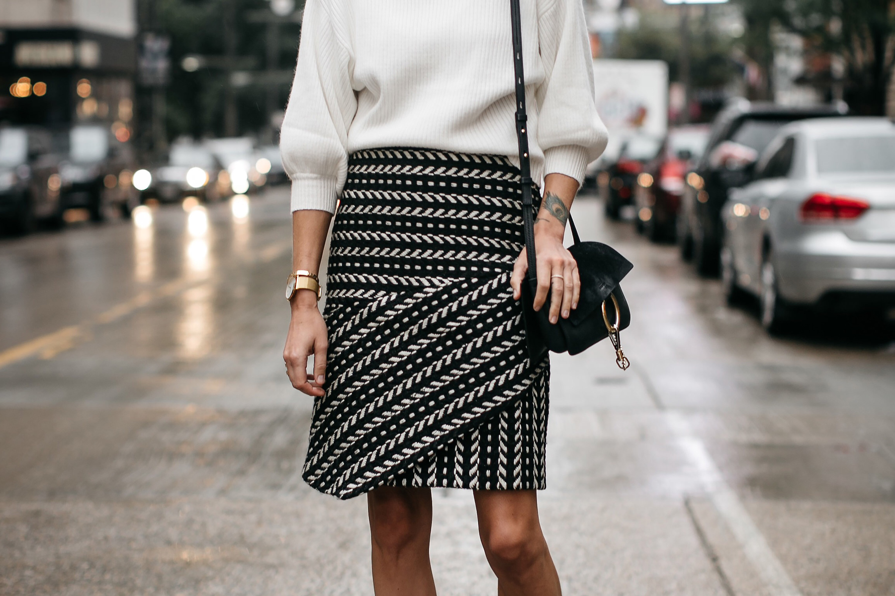 Fashion Jackson White Sweater Rachel Parcell Black and White Jacquard Skirt Chloe Faye Handbag