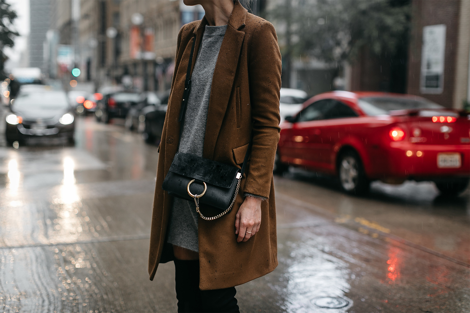 Zara Camel Wool Coat Grey Sweater Dress Chloe Faye Handbag Fashion Jackson Dallas Blogger Fashion Blogger Street Style