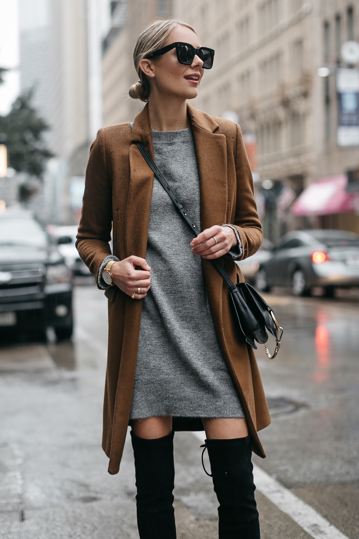 An Effortless Way To Style A Grey Sweater Dress Fashion
