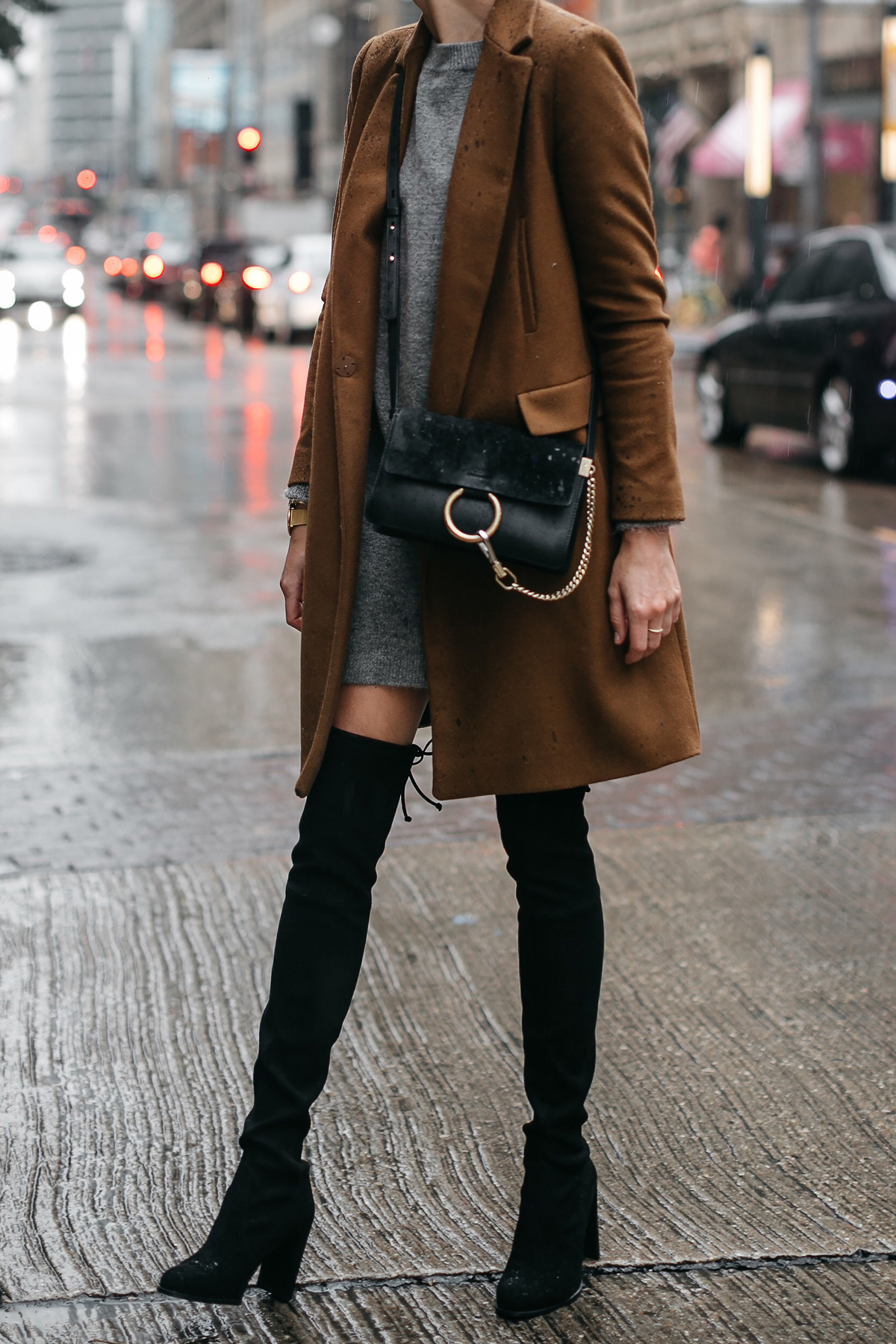 Zara Camel Wool Coat Topshop Grey Sweater Dress Chloe Faye Handbag Stuart Weitzman Black Over the Knee Boots Fashion Jackson Dallas Blogger Fashion Blogger Street Style