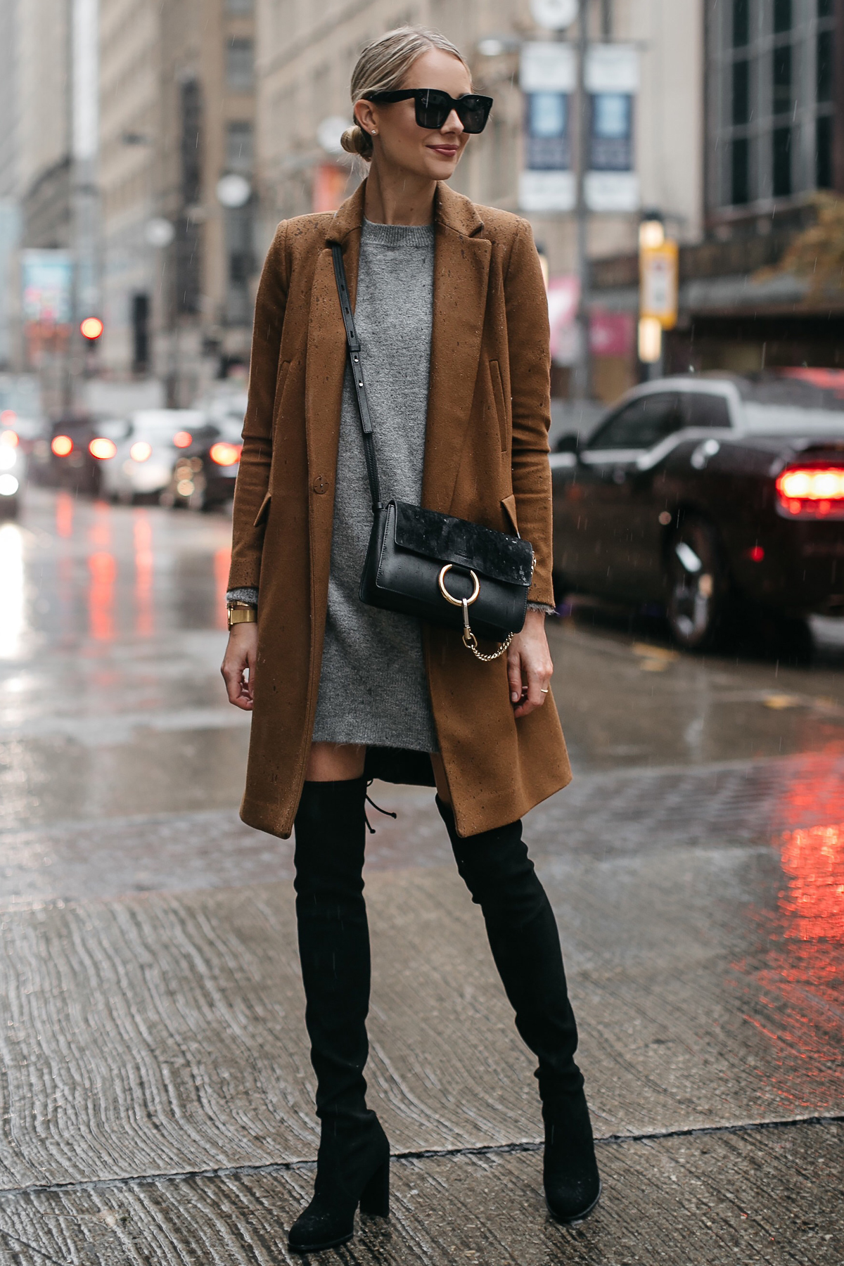 Blonde Woman Wearing Zara Camel Wool Coat Topshop Grey Sweater Dress Chloe Faye Handbag Stuart Weitzman Black Over the Knee Boots Fashion Jackson Dallas Blogger Fashion Blogger Street Style