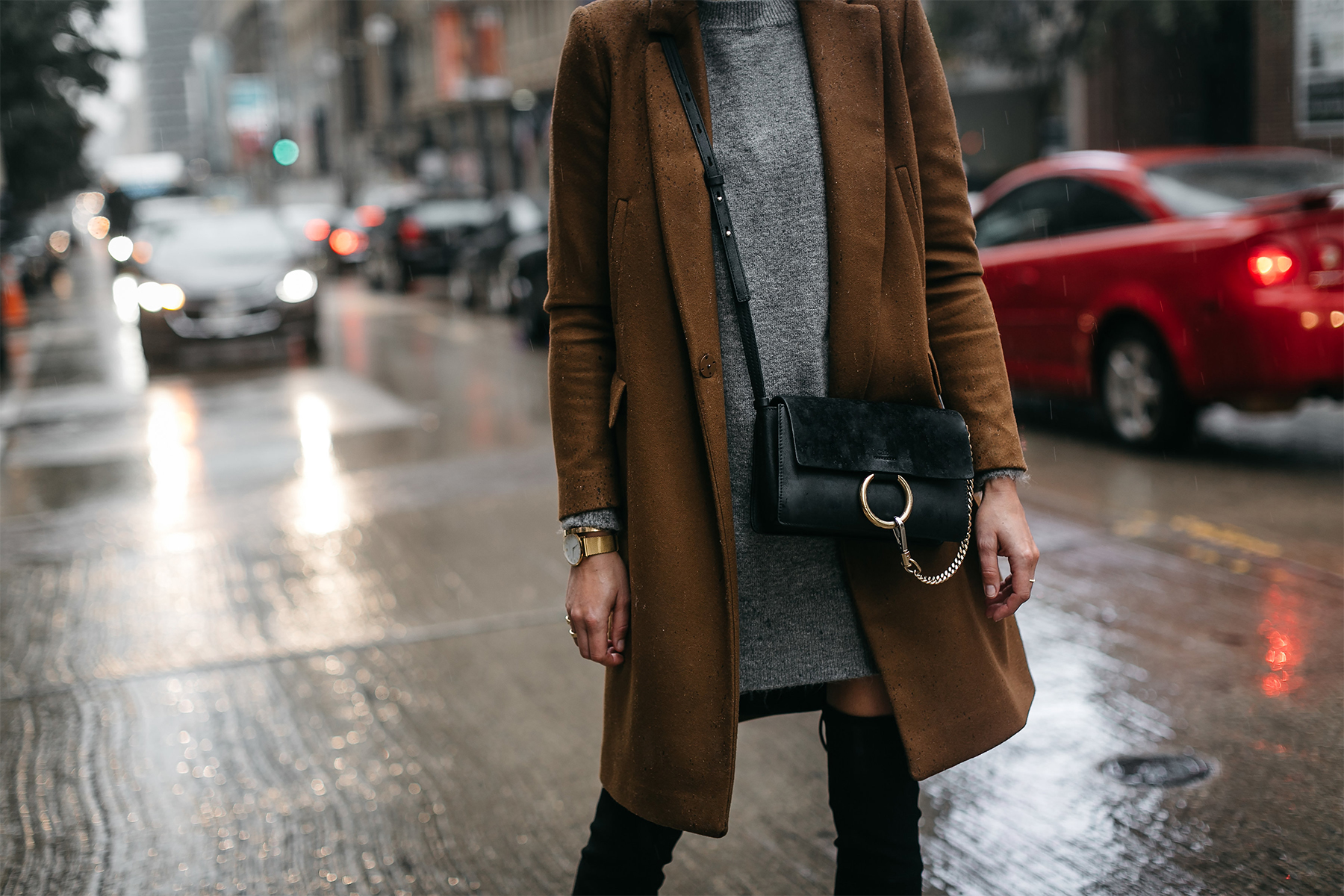 Zara Camel Wool Coat Topshop Grey Sweater Dress Chloe Faye Handbag Fashion Jackson Dallas Blogger Fashion Blogger Street Style
