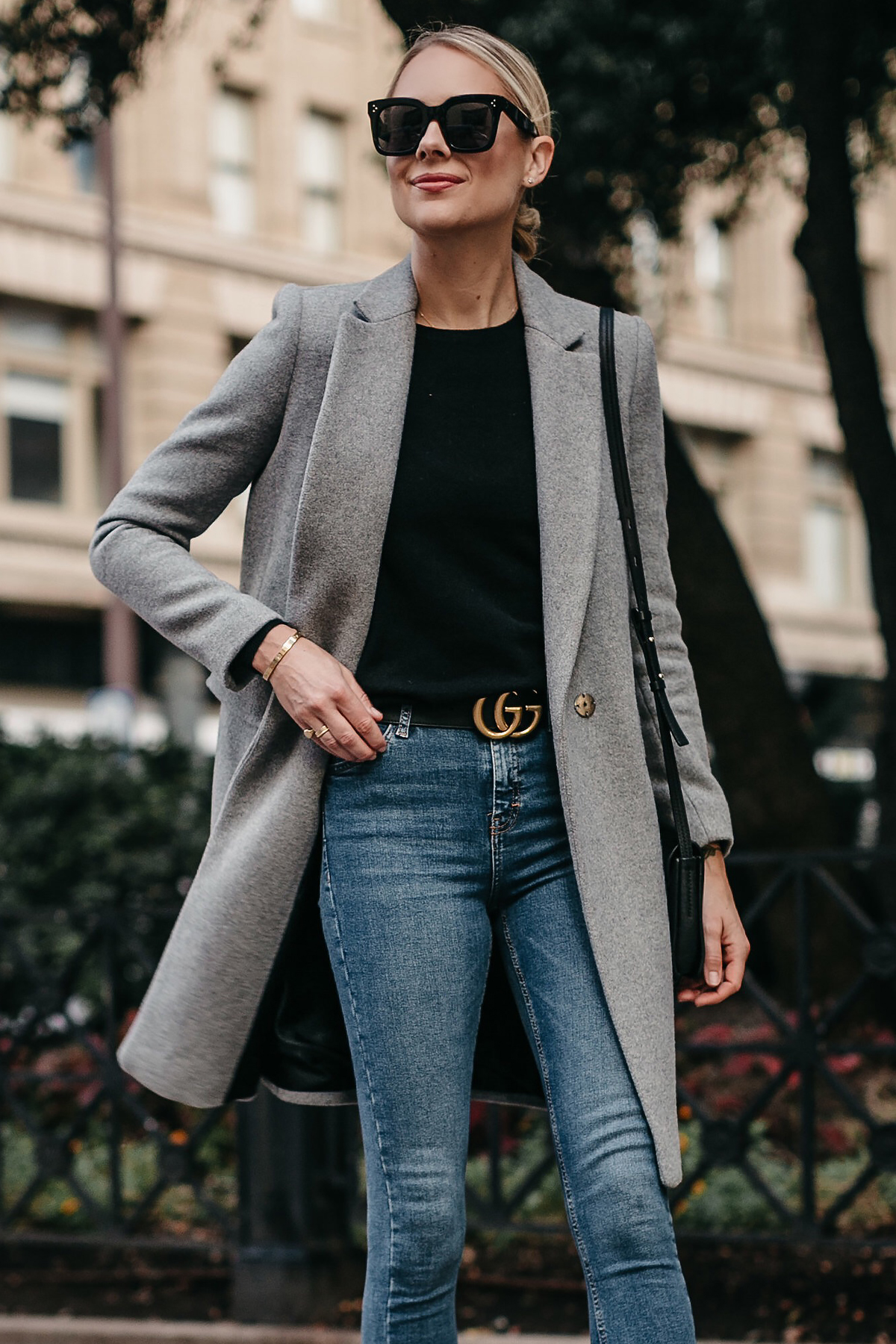 Blonde Woman Wearing Zara Grey Wool Coat Black Sweater Denim Skinny Jeans Gucci Marmont Belt Fashion Jackson Dallas Blogger Fashion Blogger Street Style