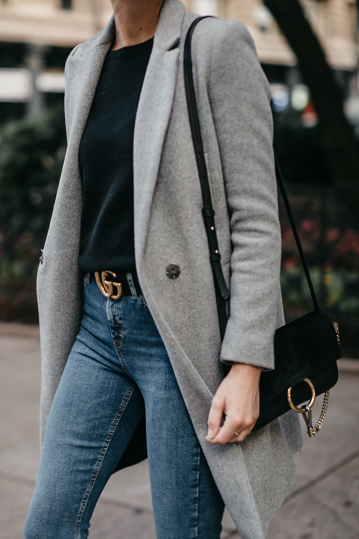 a3ebf343 Zara Grey Wool Coat Black Sweater Denim Skinny Jeans Gucci Marmont Belt  Choe Faye Black Handbag