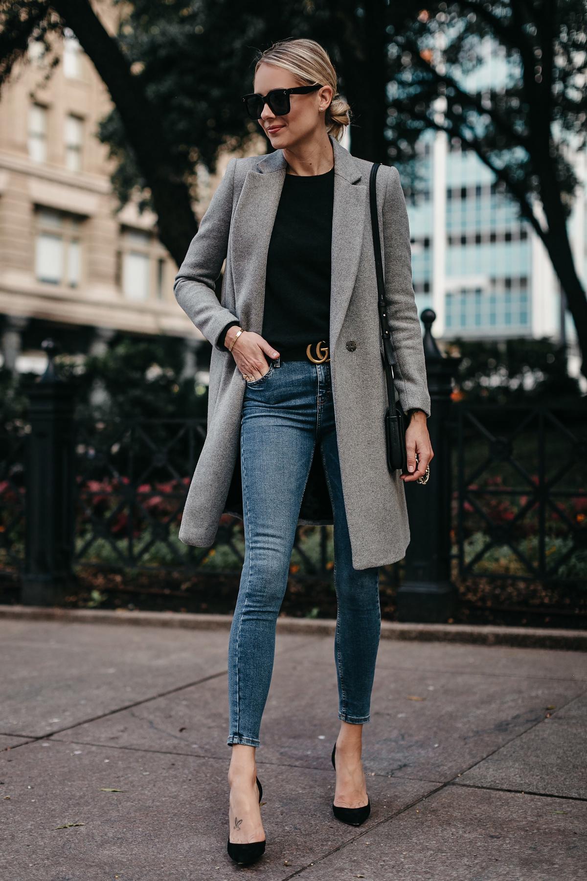 Blonde Woman Wearing Zara Grey Wool Coat Black Sweater Denim Skinny Jeans Gucci Marmont Belt Chrisian Louboutin Black Pumps Fashion Jackson Dallas Blogger Fashion Blogger Street Style