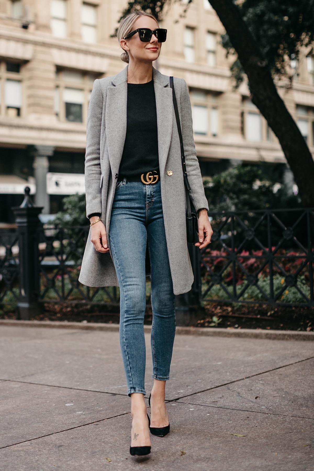 Blonde Woman Wearing Zara Grey Wool Coat Black Sweater Denim Skinny Jeans Gucci Marmont Belt Christian Louboutin Black Pumps Fashion Jackson Dallas Blogger Fashion Blogger Street Style