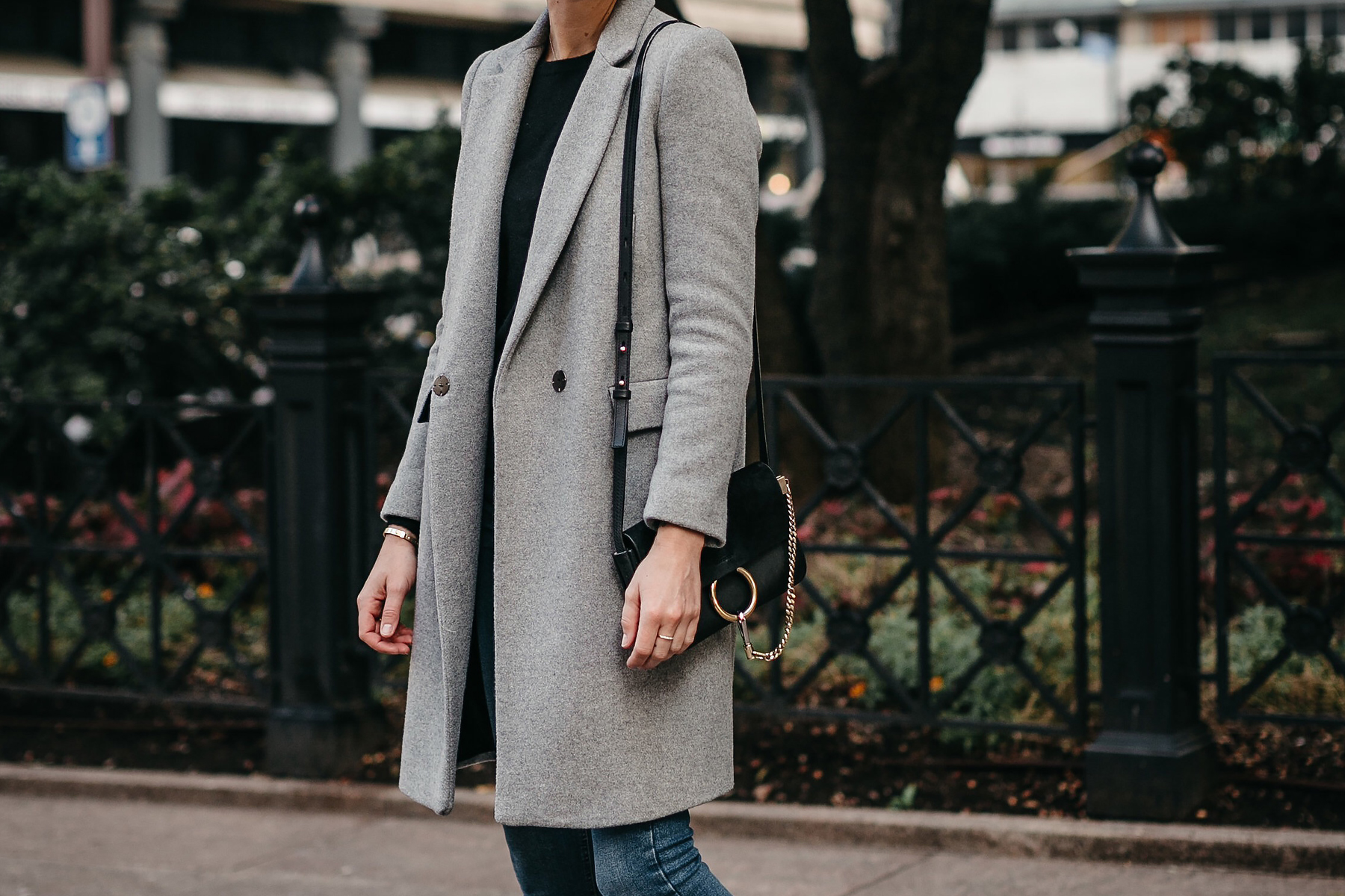 cf84a248 Zara Grey Wool Coat Chloe Faye Black Handbag Fashion Jackson Dallas Blogger  Fashion Blogger Street Style