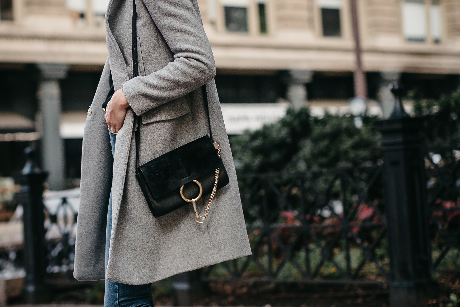 Zara Grey Wool Coat Chloe Faye Black Handbag Fashion Jackson Dalals Blogger Fashion Blogger Street Style
