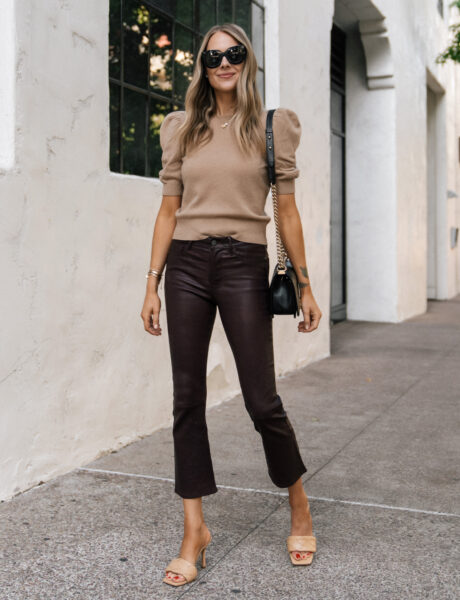 A Feminine Way to Style Leather Pants for Fall