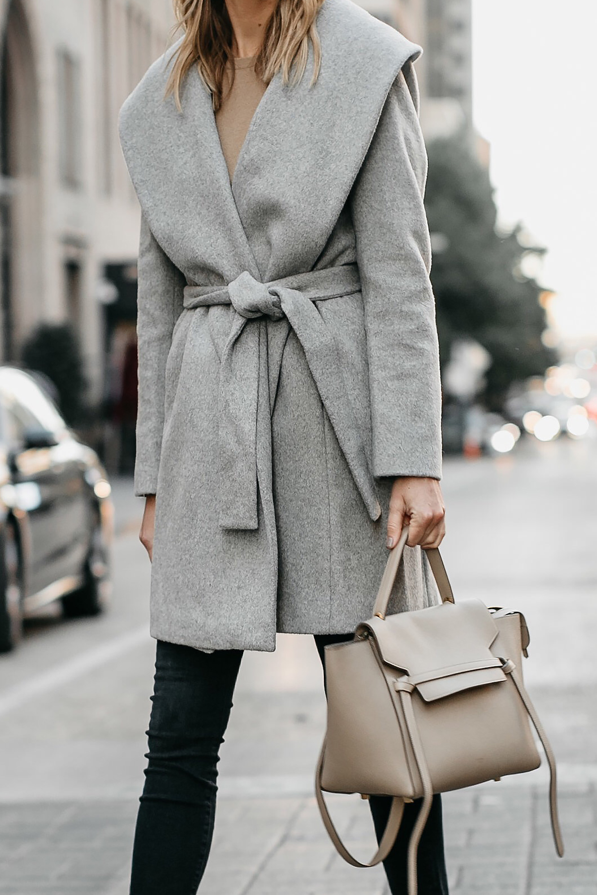Ann Taylor Grey Wrap Coat Celine Mini Belt Bag Fashion Jackson Dallas Blogger Fashion Blogger Street Style
