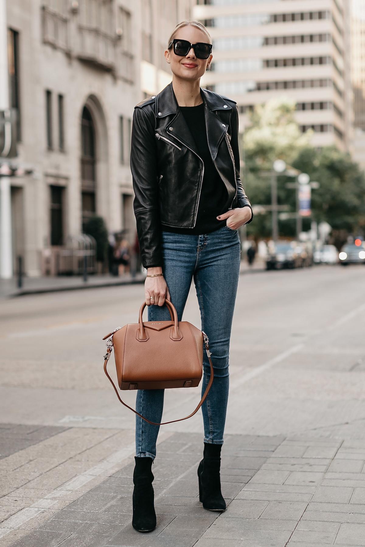 Blonde Woman Wearing Black Leather Jacket Denim Skinny Jeans Black Booties Givenchy Antigona Cognac Satchel Fashion Jackson Dallas Blogger Fashion Blogger Street Style