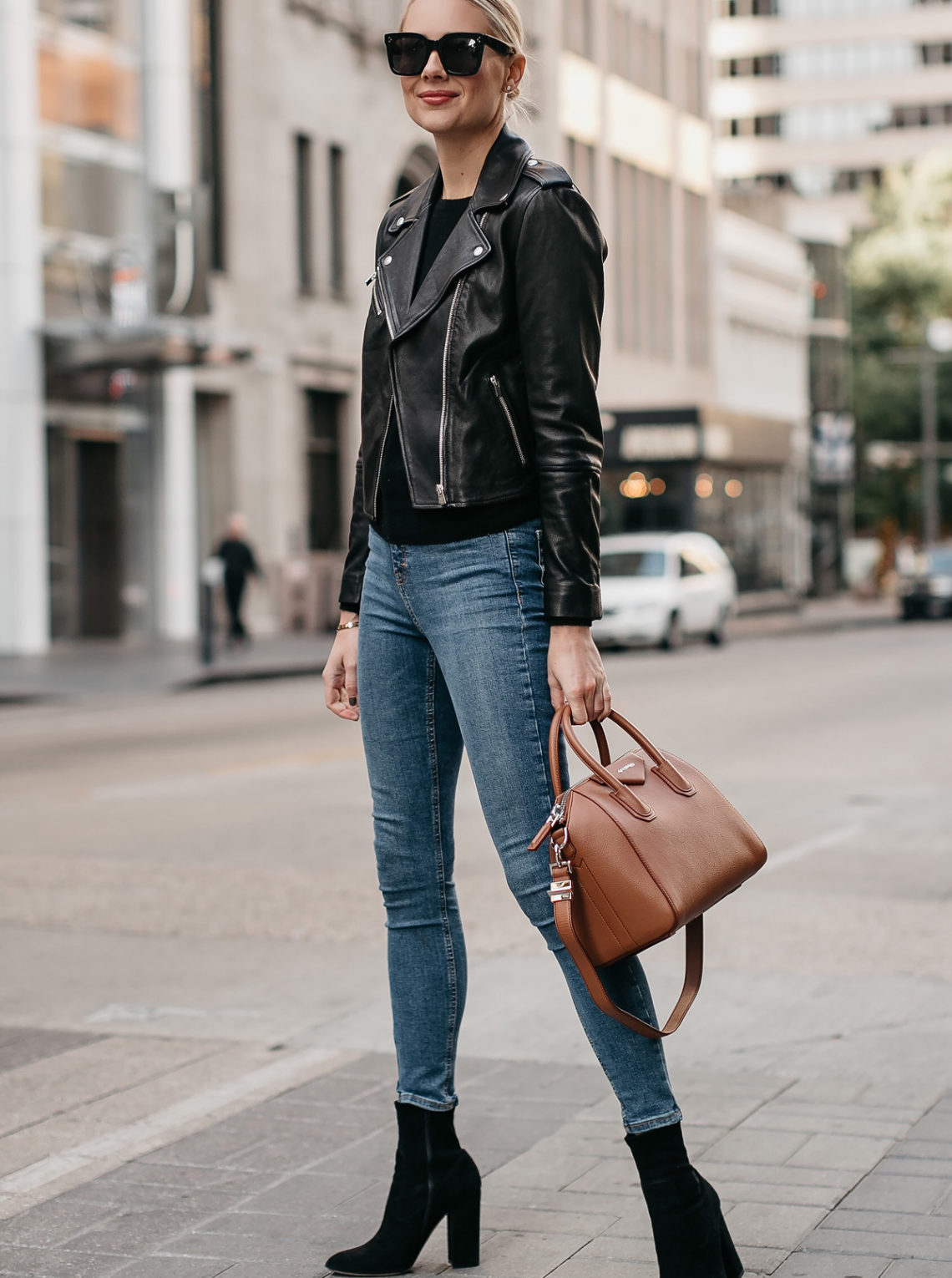 Blonde Woman Wearing Black Leather Jacket Denim Skinny Jeans Black Booties Givencny Antigona Cognac Satchel Fashion Jackson Dallas Blogger Fashion Blogger Street Style