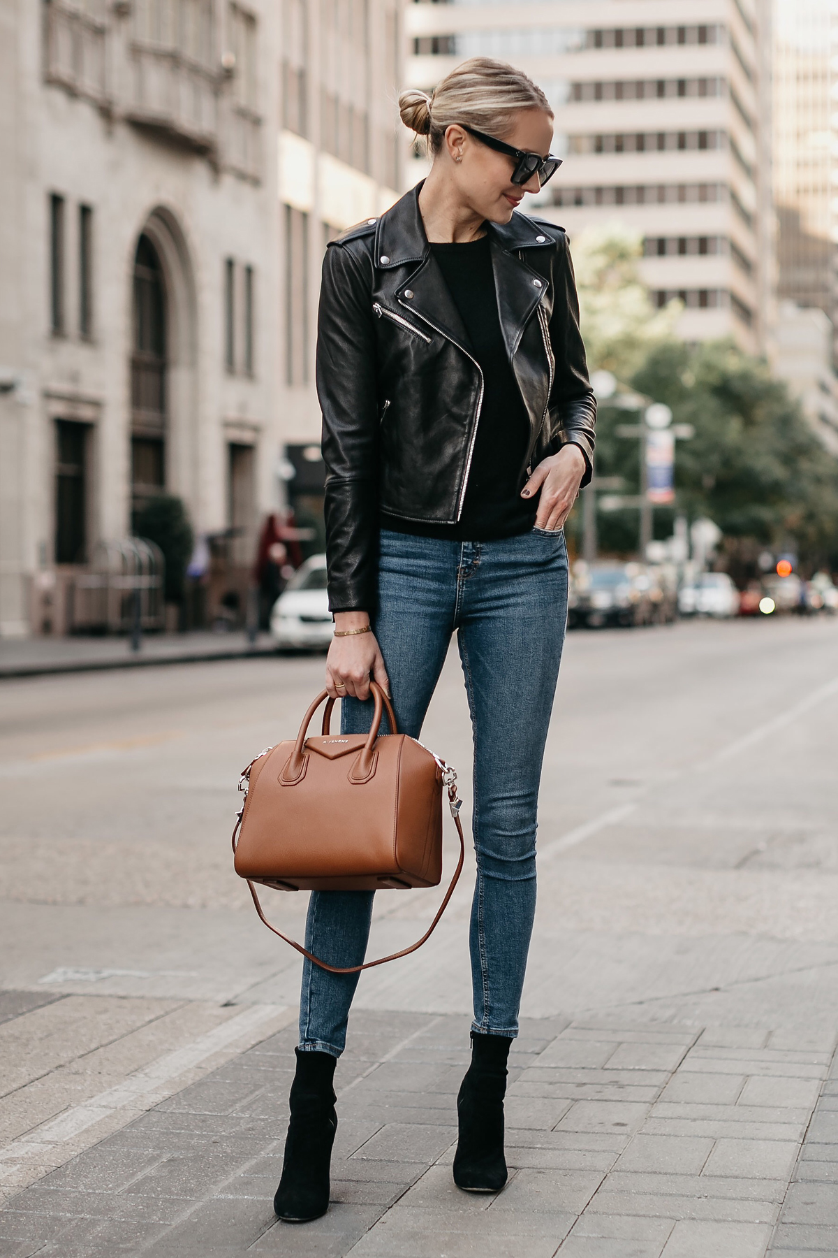 Blonde Woman Wearing Black Leather Jacket Denim Skinny Jeans Black Booties Givencny Antigona Cognac Satchel Fashion Jackson Dallas Blogger Fashion Blogger Street Style