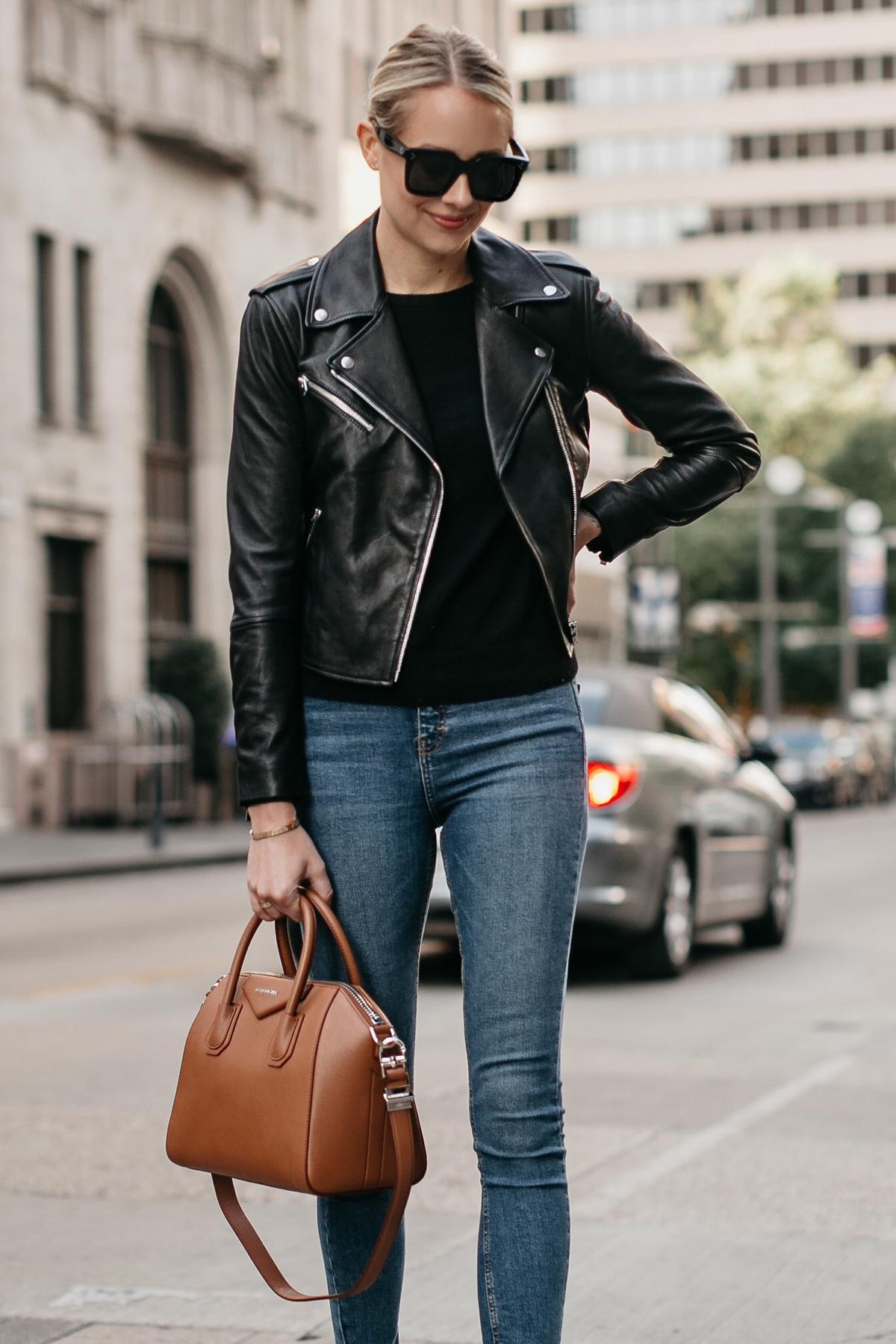 Blonde Woman Wearing Black Leather Jacket Denim Skinny Jeans Givencny Antigona Cognac Satchel Fashion Jackson Dallas Blogger Fashion Blogger Street Style