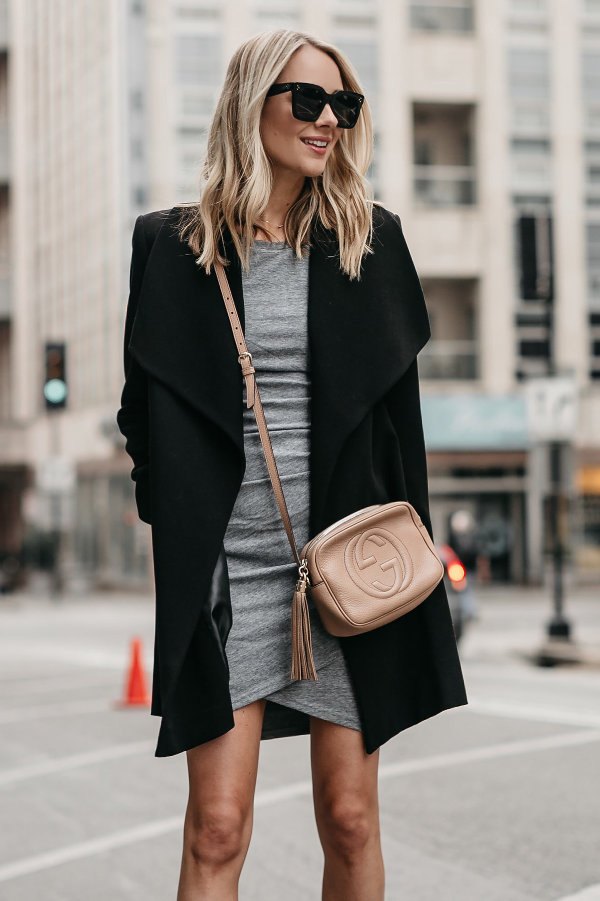 Blonde Woman Wearing Black Wrap Coat Grey Dress Gucci Soho Disco Handbag Fashion Jackson Dallas Blogger Fashion Blogger Street Style