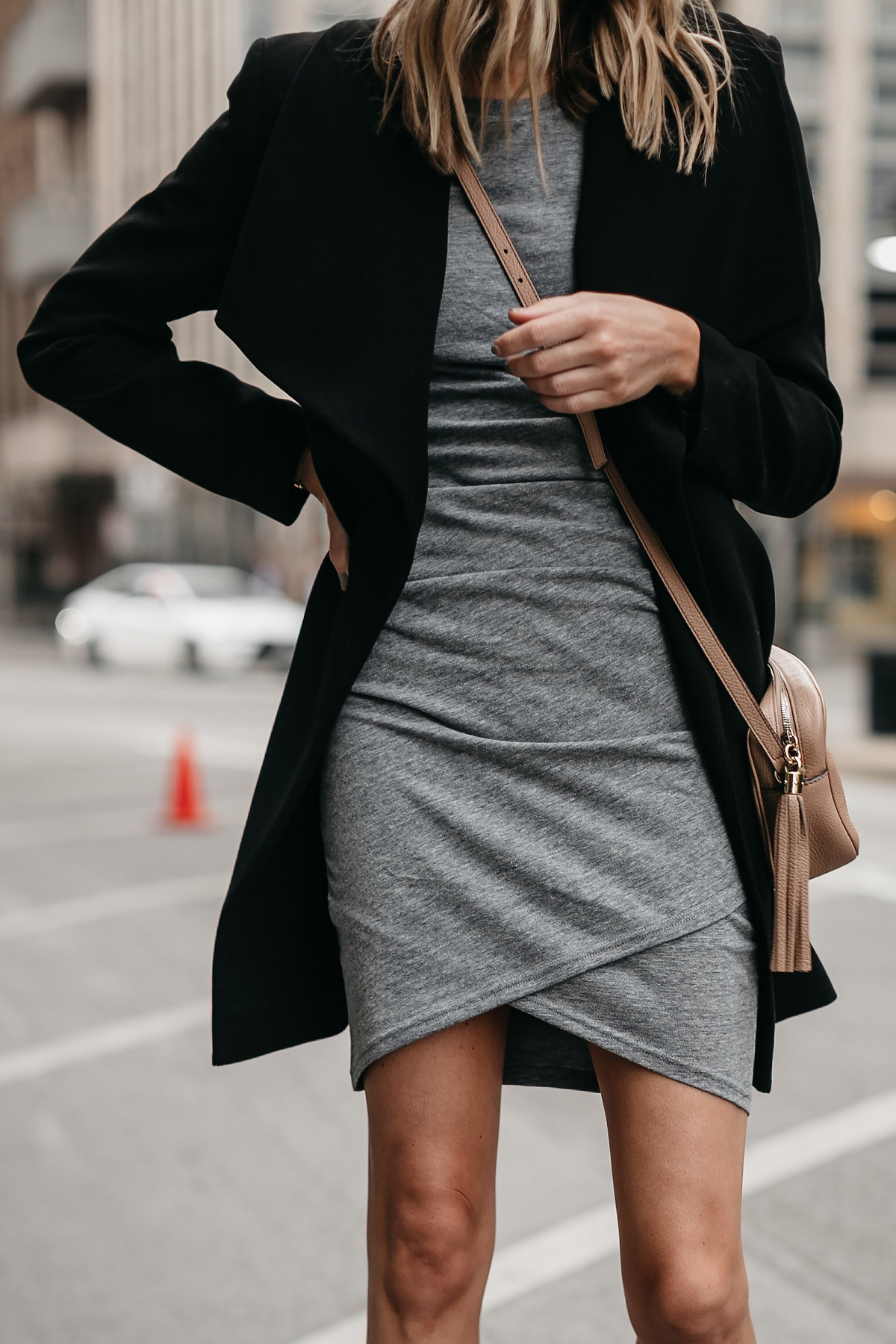 Black Wrap Coat Grey Dress Gucci Soho Disco Handbag Fashion Jackson Dallas Blogger Fashion Blogger Street Style