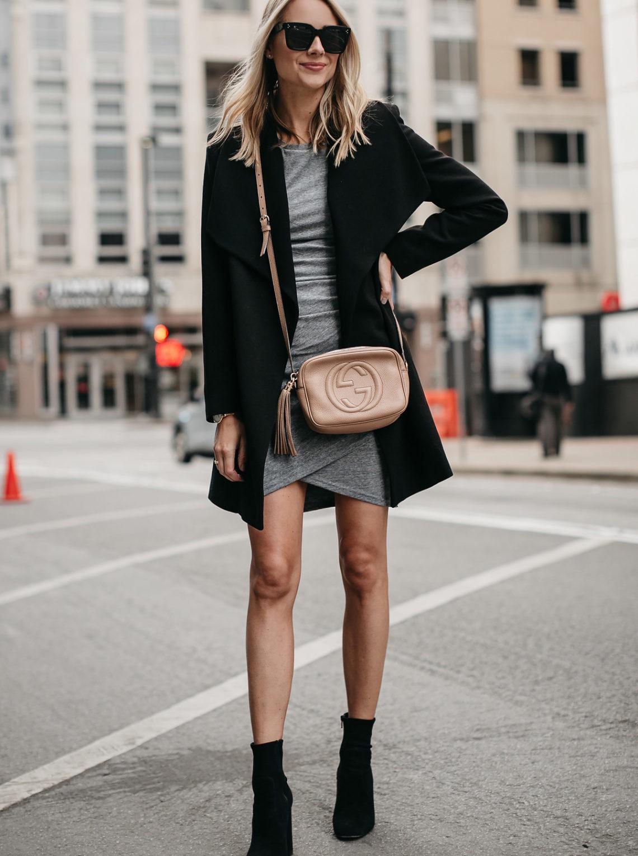 Blonde Woman Wearing Black Wrap Coat Grey Dress Gucci Soho Disco Handbag Black Booties Fashion Jackson Dallas Blogger Fashion Blogger Street Style