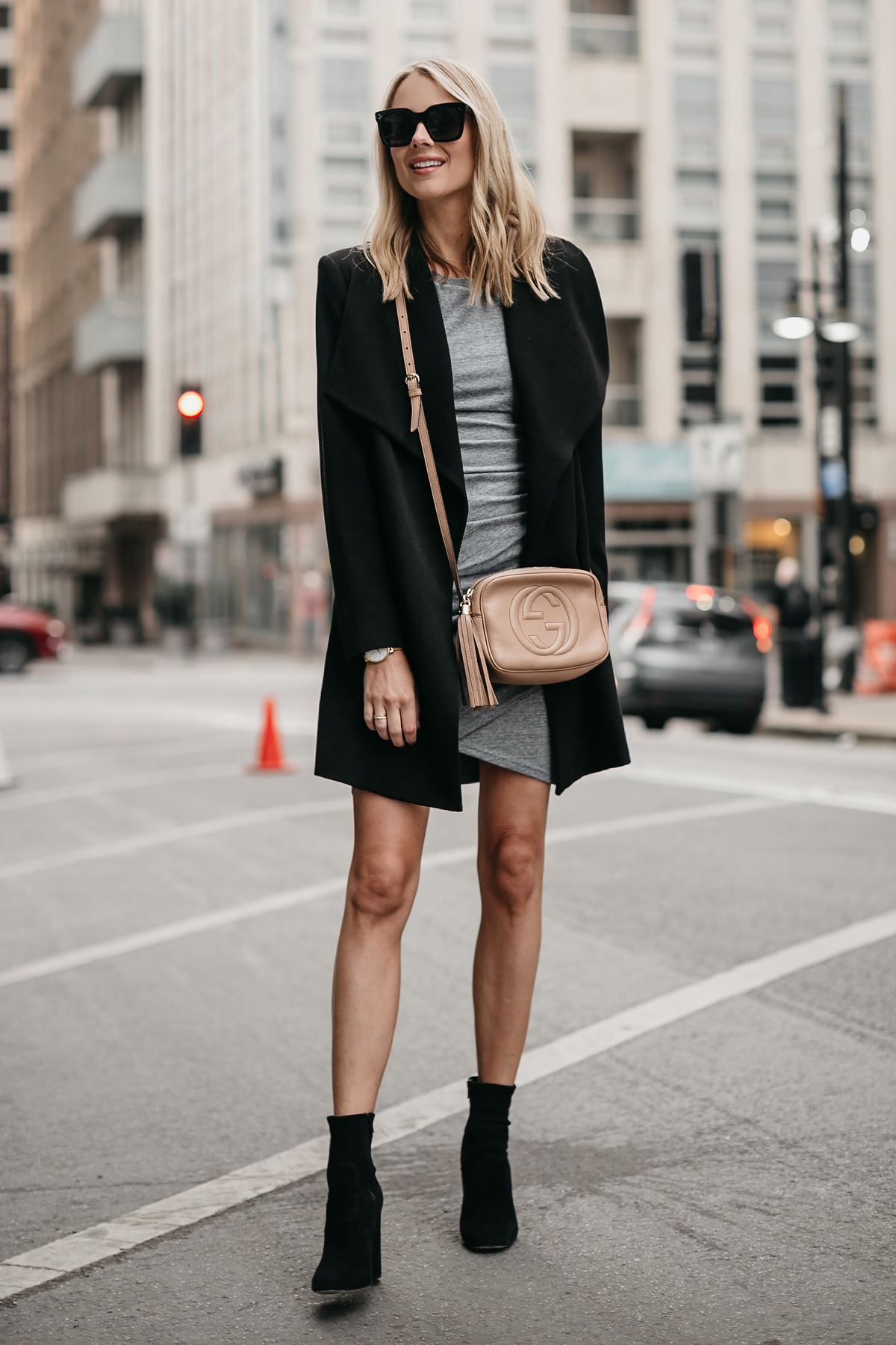 Blonde Woman Wearing Black Wrap Coat Grey Dress Gucci Soho Disco Handbag Black Booties Fashion Jackson Dallas Blogger Fashion Blogger Street Style