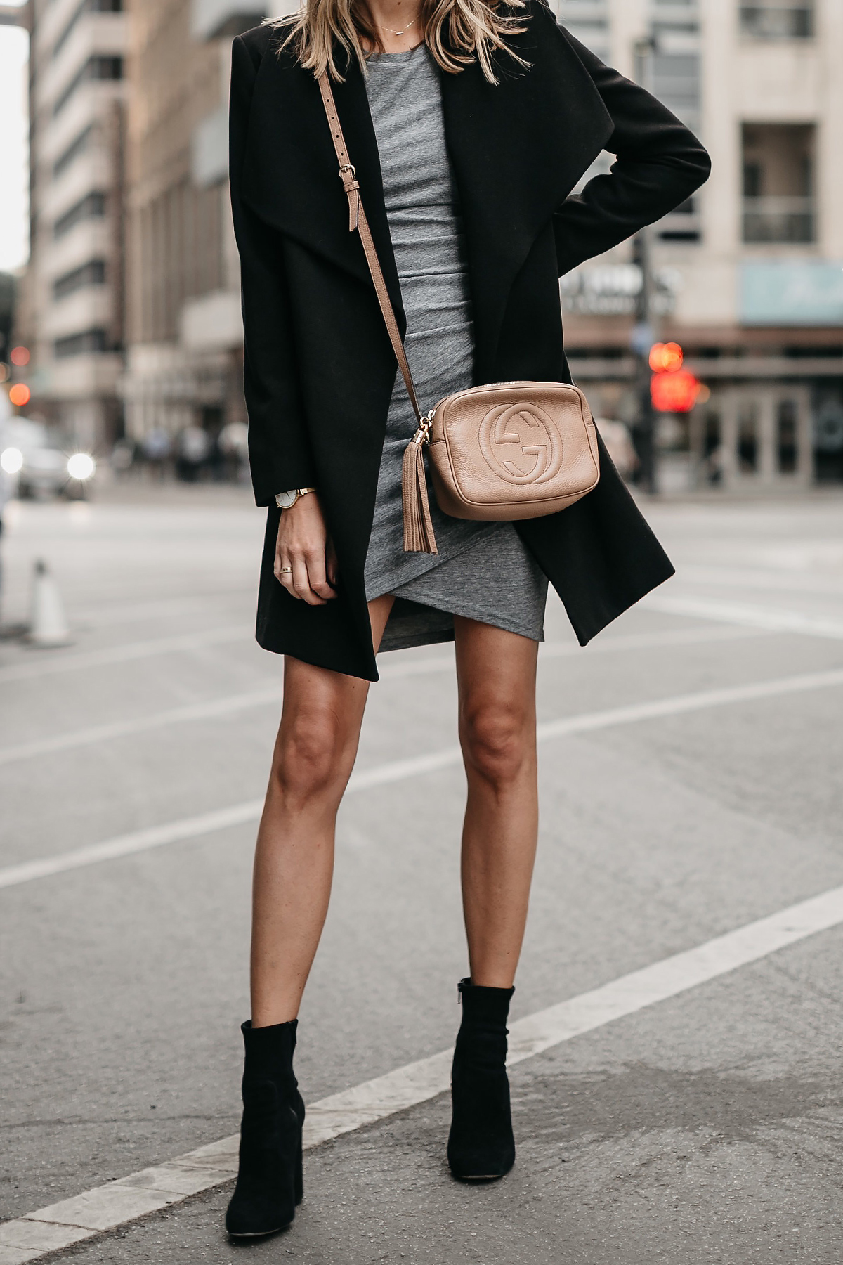 Black Wrap Coat Grey Dress Gucci Soho Disco Handbag Black Booties Fashion Jackson Dallas Blogger Fashion Blogger Street Style