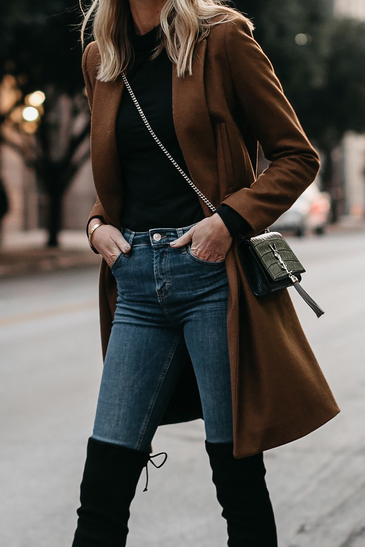 Camel Wool Coat Black Turtleneck Denim Skinny Jeans Saint Laurent Crossbody Fashion Jackson Dallas Blogger Fashion Blogger Street Style