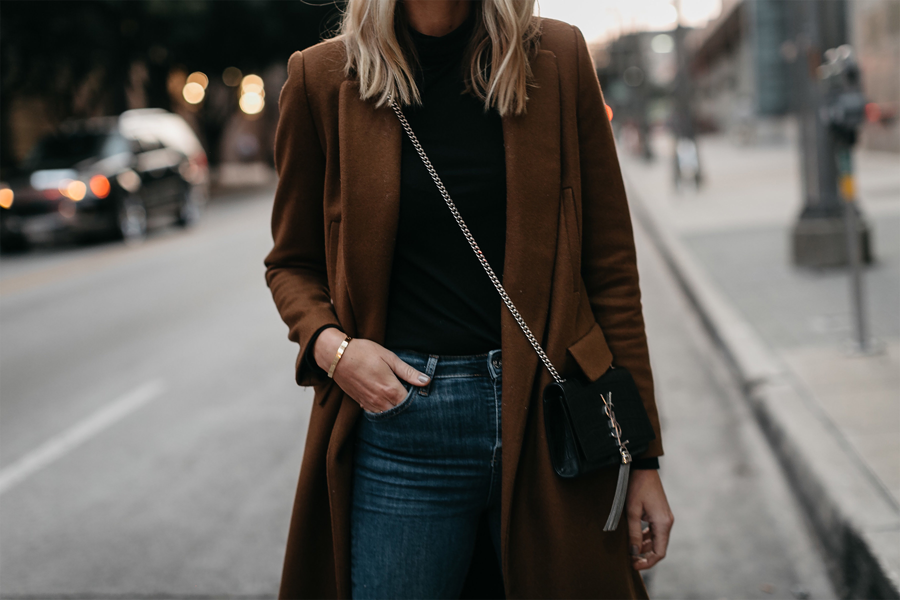 Camel Wool Coat Saint Laurent Crossbody Black Turtleneck Fashion Jackson Dallas Blogger Fashion Blogger Street Style