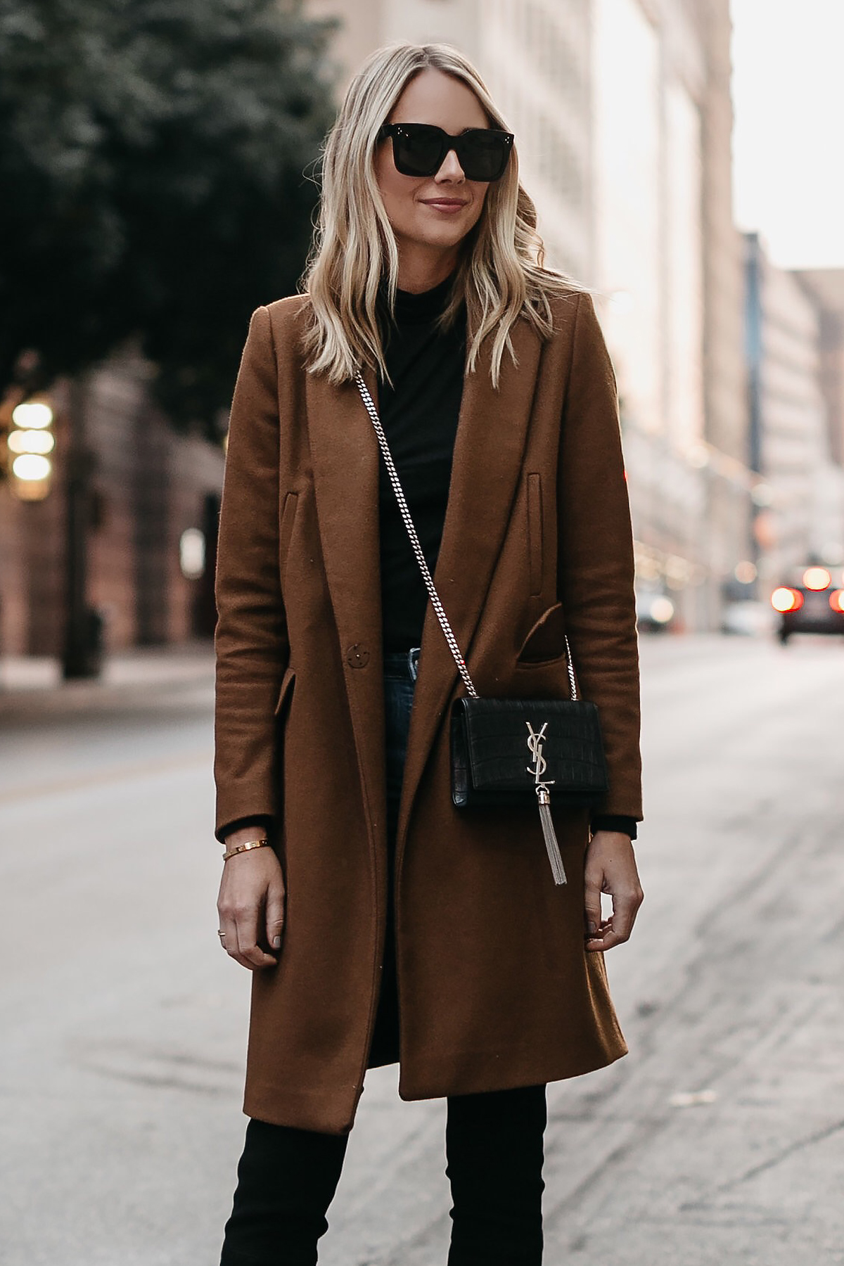 Blonde Woman Wearing Camel Wool Coat Saint Laurent Monogram Tassel Crossbody Fashion Jackson Dallas Blogger Fashion Blogger Street Style