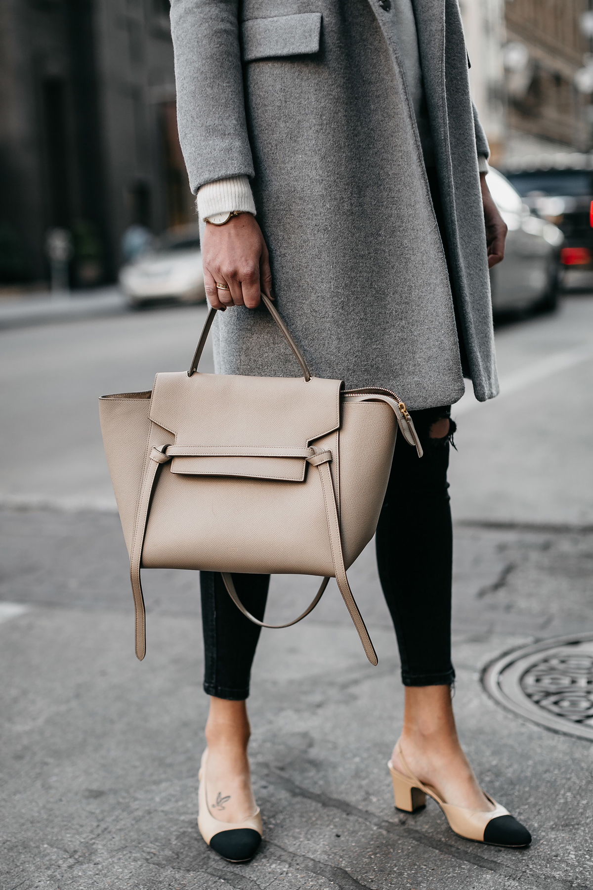 Celine Mini Belt Bag Chanel Slingbacks Grey Wool Coat Fashion Jackson Dallas Blogger Fashion Blogger Street Style