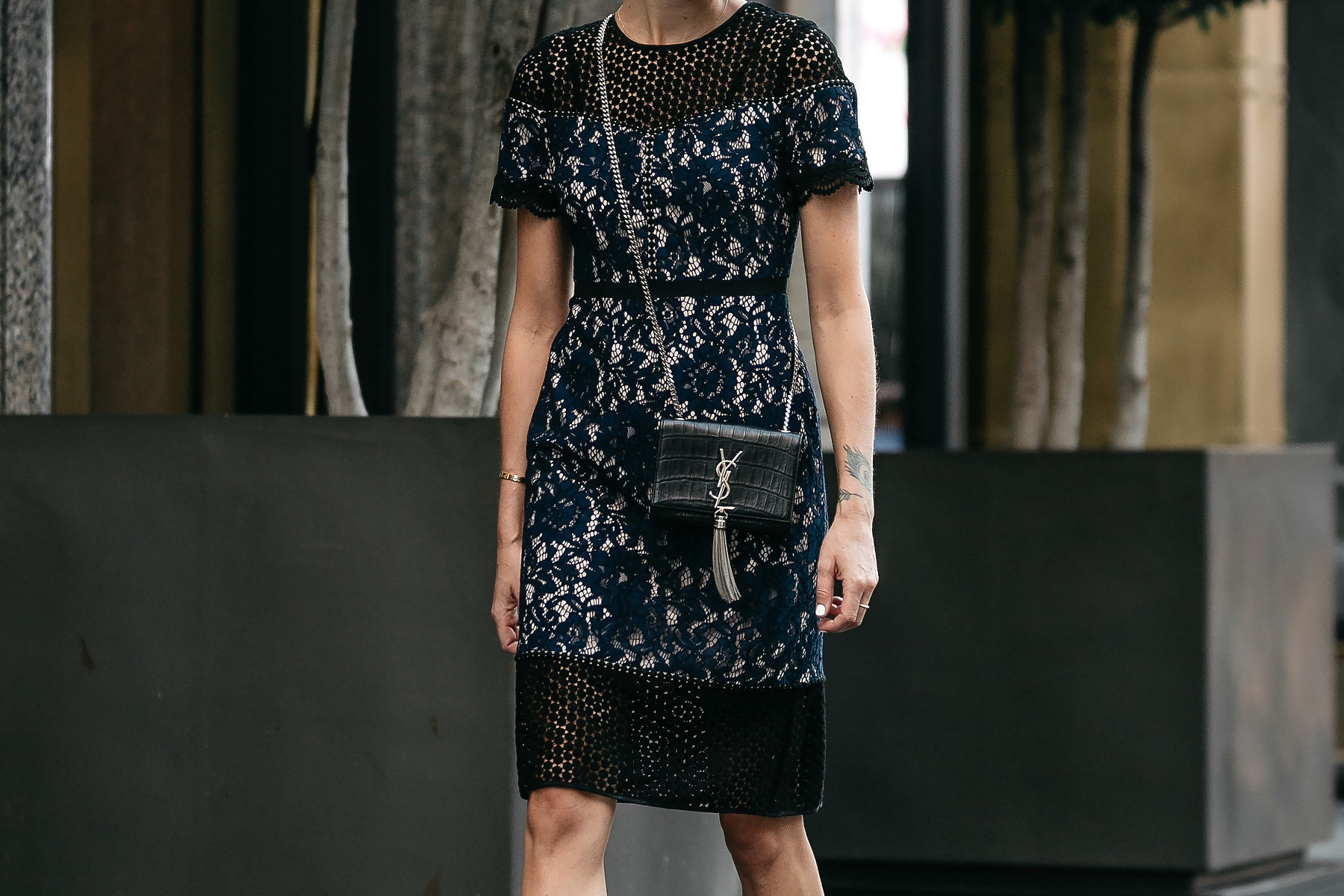 Club Monaco Black Navy Lace Dress YSL Black Monogram Tassel Clutch Fashion Jackson Dallas Blogger Fashion Blogger Street Style